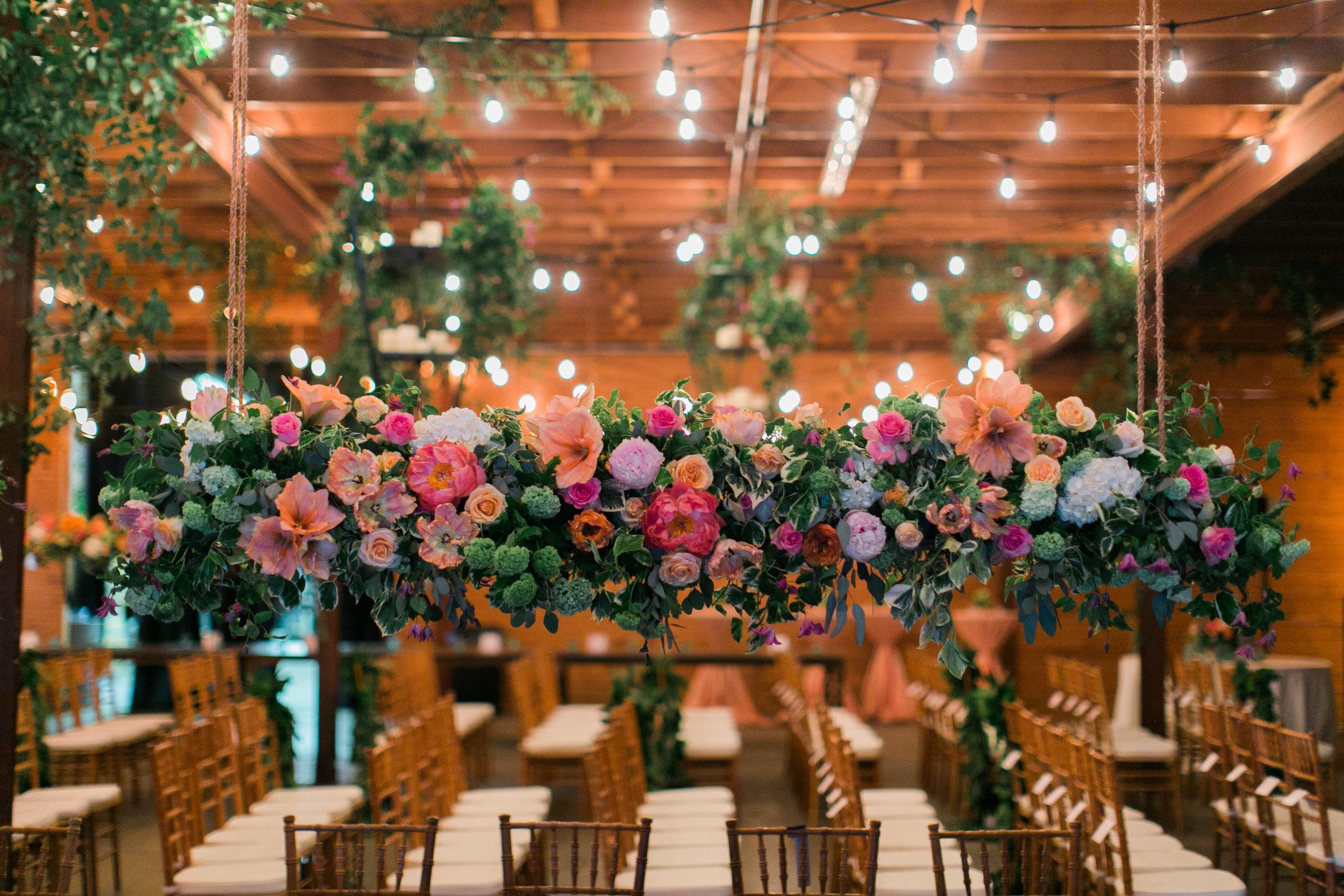 suspended floral arrangements by Parie Designs