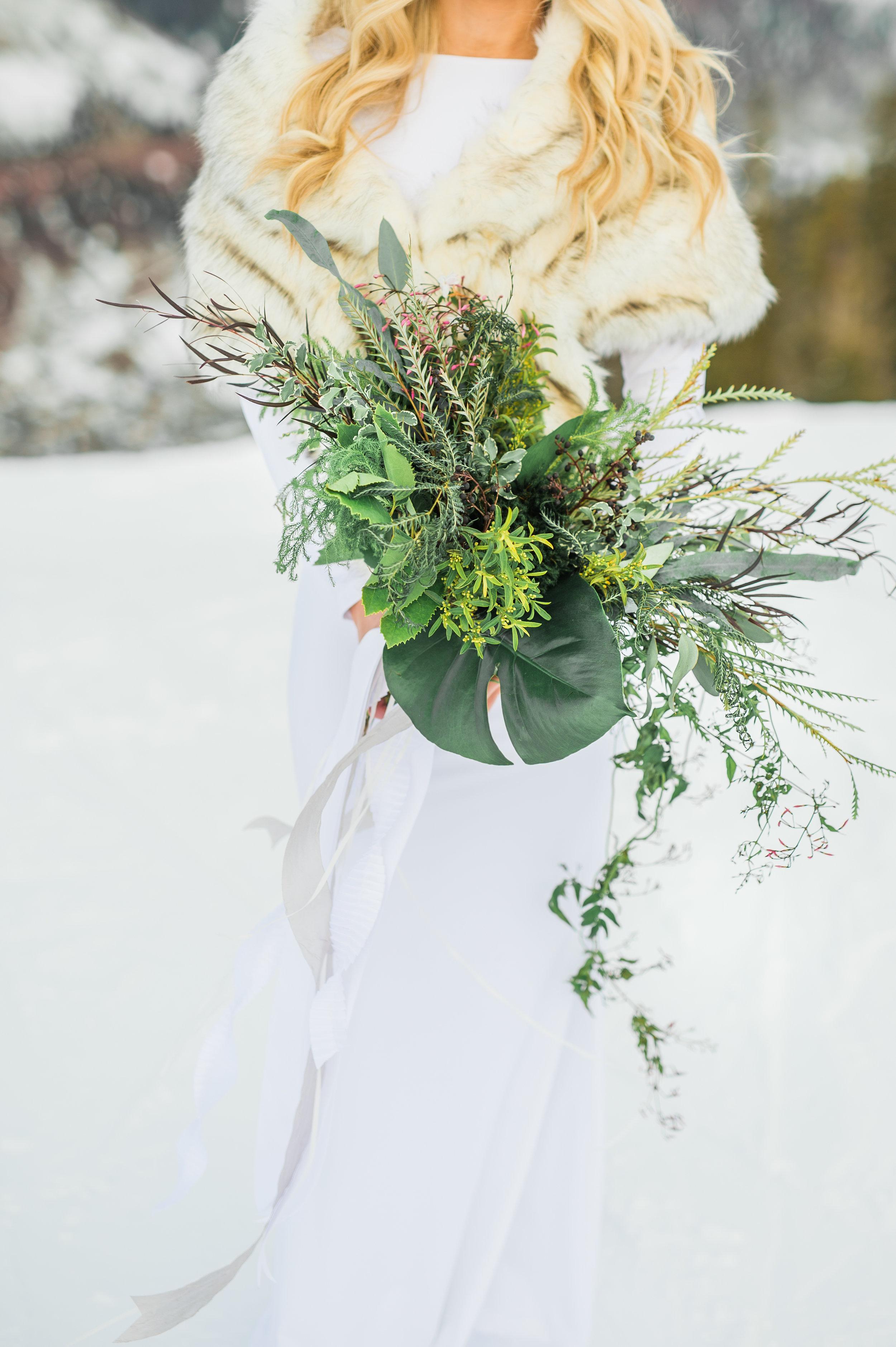 bridal bouquet Parie designs green wedding, green bouquet featuring Grevillea, Jasmine, seeded Eucalyptus, Elkhorn Moss, Assorted Chilean Ferns