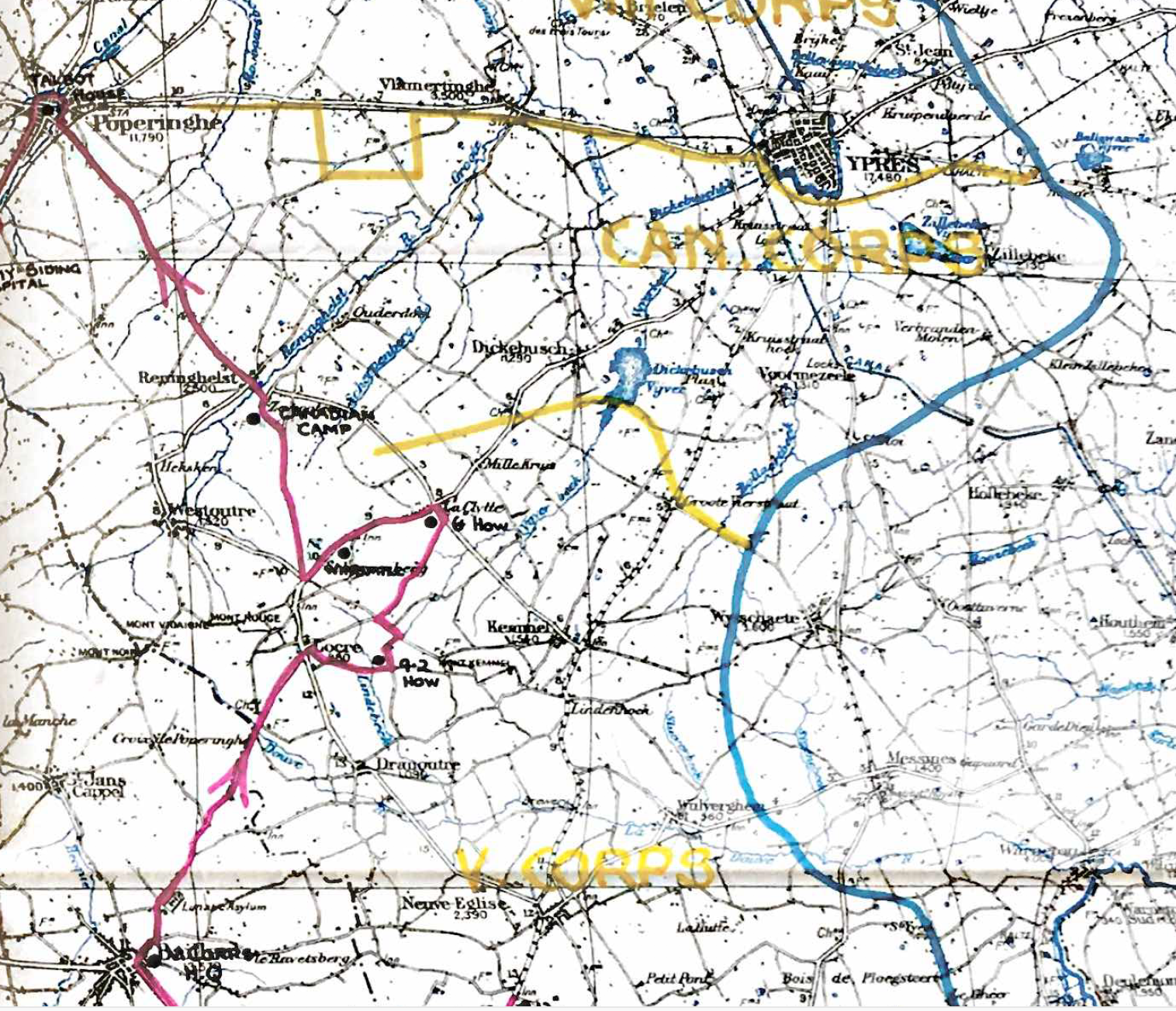Map showing the whole scope of Nicholls' active service at the Front. He joined the 31st east of Kemmel (centre of map where violet and blue lines are closest. His war ended near Zillebeke (at end of yellow CANCORPS on map) 3 months later. In between he got to know places like Bailleul, St Jans Cappel, Locre, Westoutre, Renninghelst, La Clytte, and Dickebusch.
