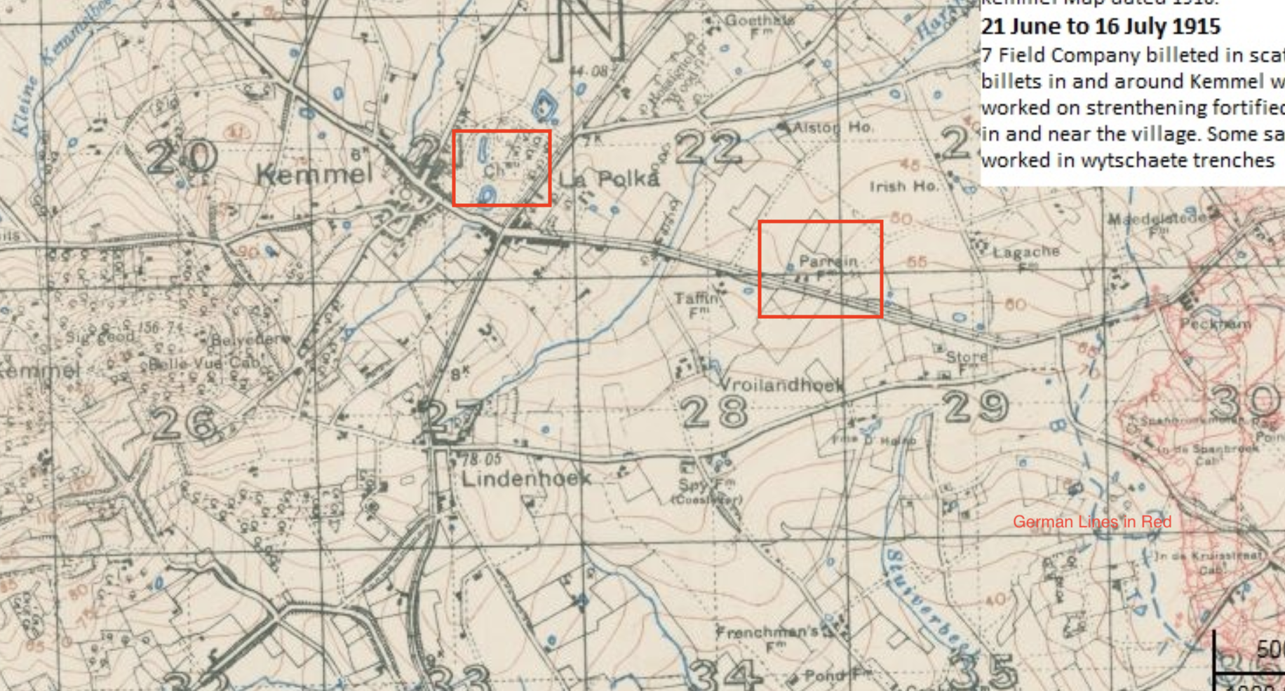 The positions where Nicholls joined D Company on March 14. The left box is over Kemmel Chateau. The German Front lines are marked out in Red on the right. Canadian Front lines, occupied by other companies of the 31st are denoted by the dotted blue line running parallel to the German lines.