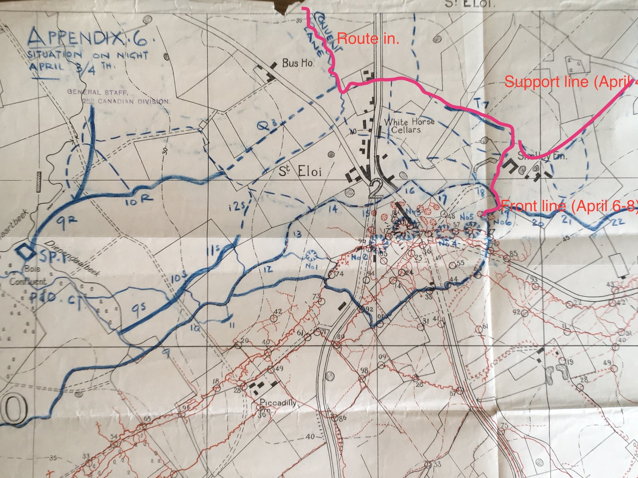 Map showing the last kilometre or so of the 31st's route into St. Eloi and the lines held by D Company on the 4th-5th and then on the 6th-8th. The route begins where the pink line appears at the top of the map. Note Shelley Farm obscured by pink line. Shelley Lane runs south from that point to point 19, below the F in Front Line. Other British positions in blue.