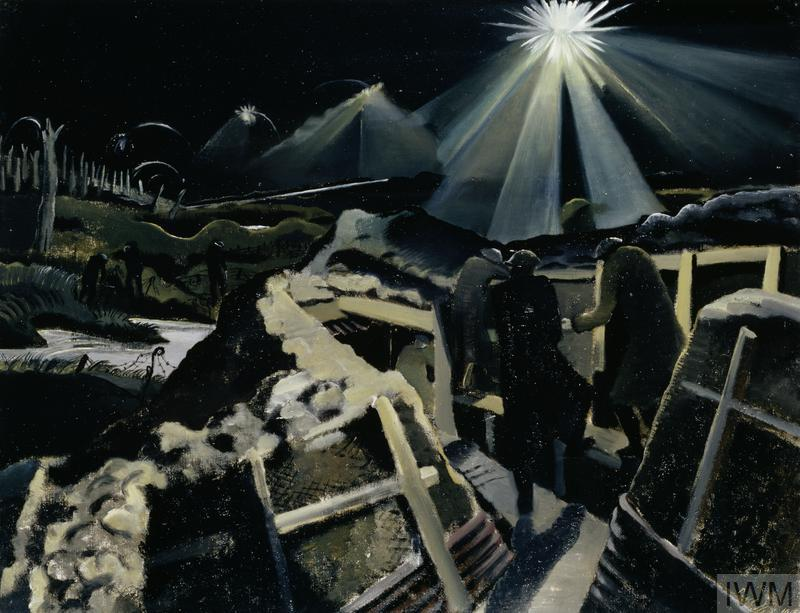 A contemporary war artist's impression of 'The Ypres Salient at Night'. (Paul Nash) Nicholls would have seen something like this on his first trip 'up the line'.