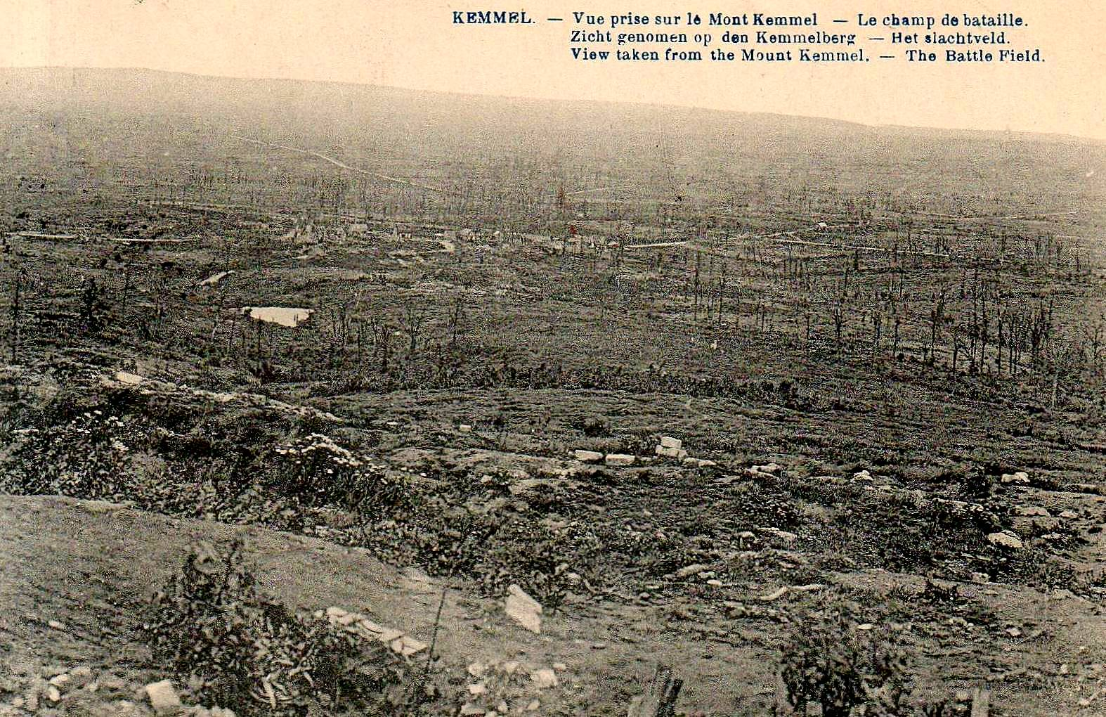 A view from Mont Kemmel down over Kemmel Village with the Messines and Wytschaete Ridges on the horizon.