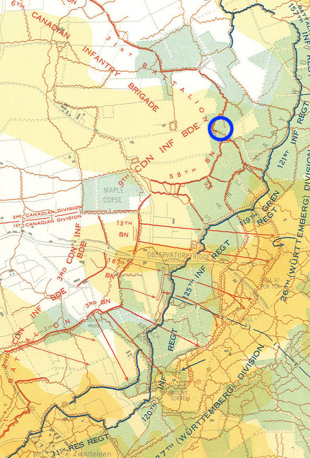 Canadian counter attack on Mount Sorrell/Hill 62, June 13th, 1916. Nicholls' approximate position at bottom edge of blue circle.