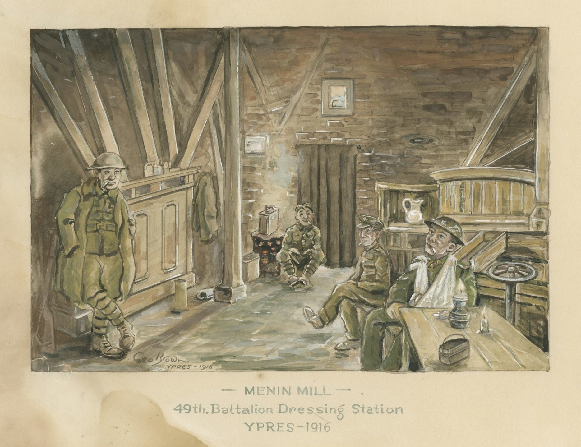 The Medical Officer of the 31st set up the Battalion Dressing Station near Menin Mill, alongside several other formations. It would have been far more chaotic than the scene above. The Medical Officer of the 31st describes 'a constant stream of casualties'.
