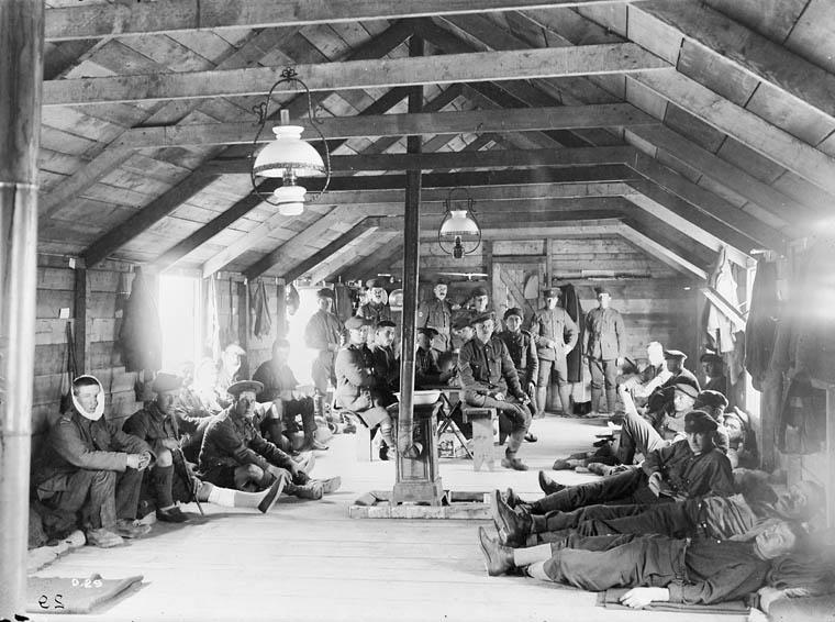 Interior of Canadian Field Ambulance Ward, June 1916.