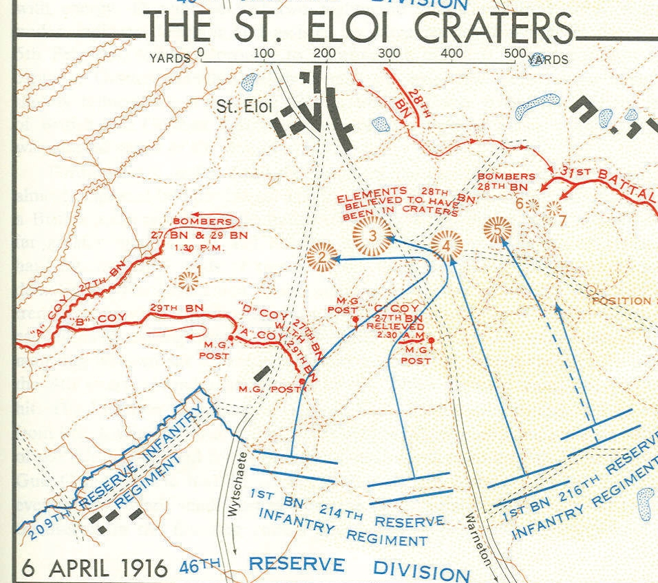 German attack of April 6, 1916. Note that Craters 6 & 7 were the most forward and exposed part of the Canadian Line on the left.