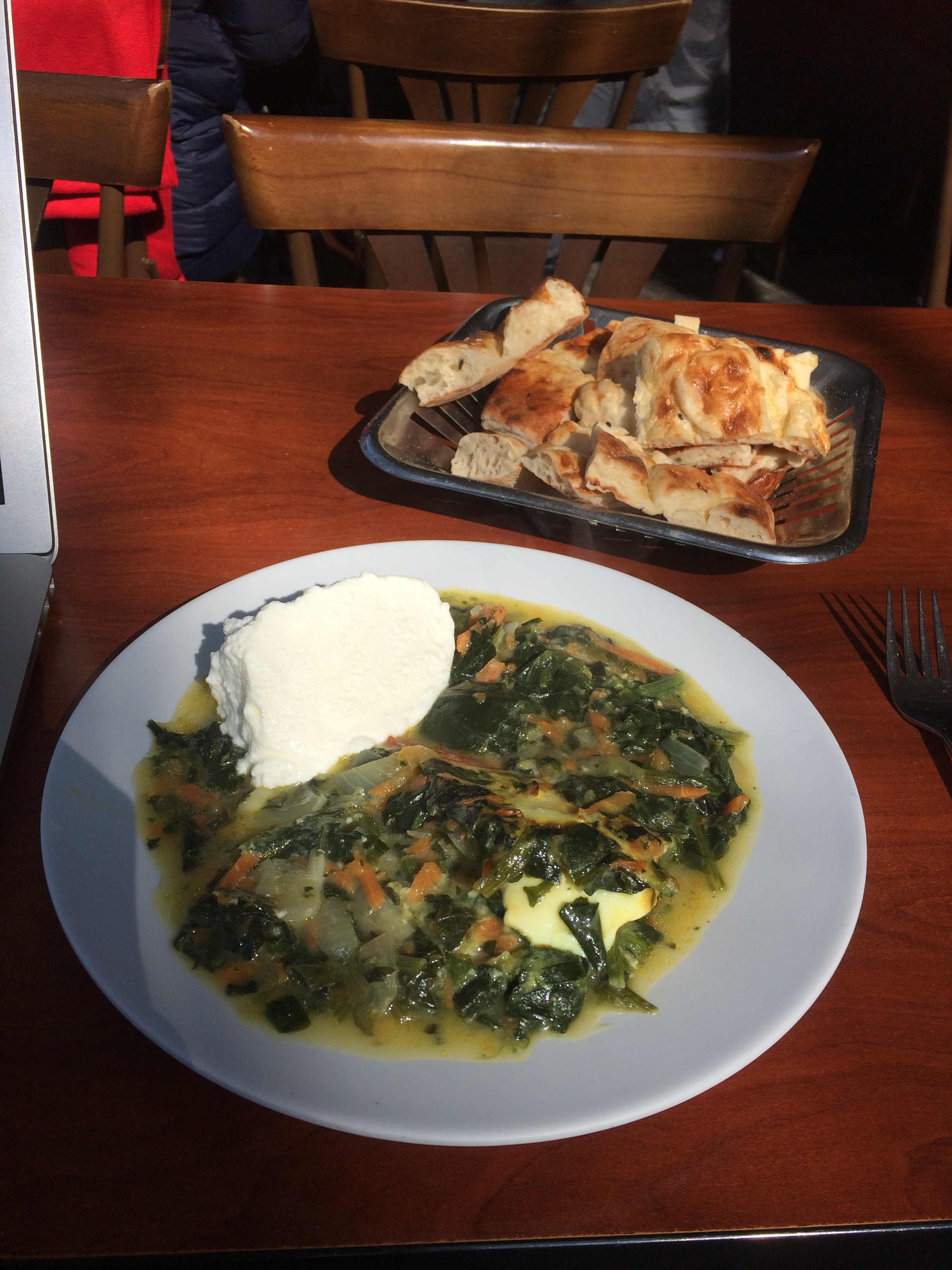 Spinach and egg with Turkish Yoghurt and bread