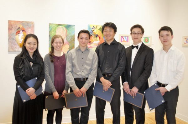 Winners of the 2016 Young Instrumentalist Strings Competition:  ChaeLim Yoon (honorable mention), Ellie Shapiro (2nd place), Julian Shively (1st place), Mark Xu (3rd place), Camden Archambeau and Benjamin Crosby (honorable mentions).