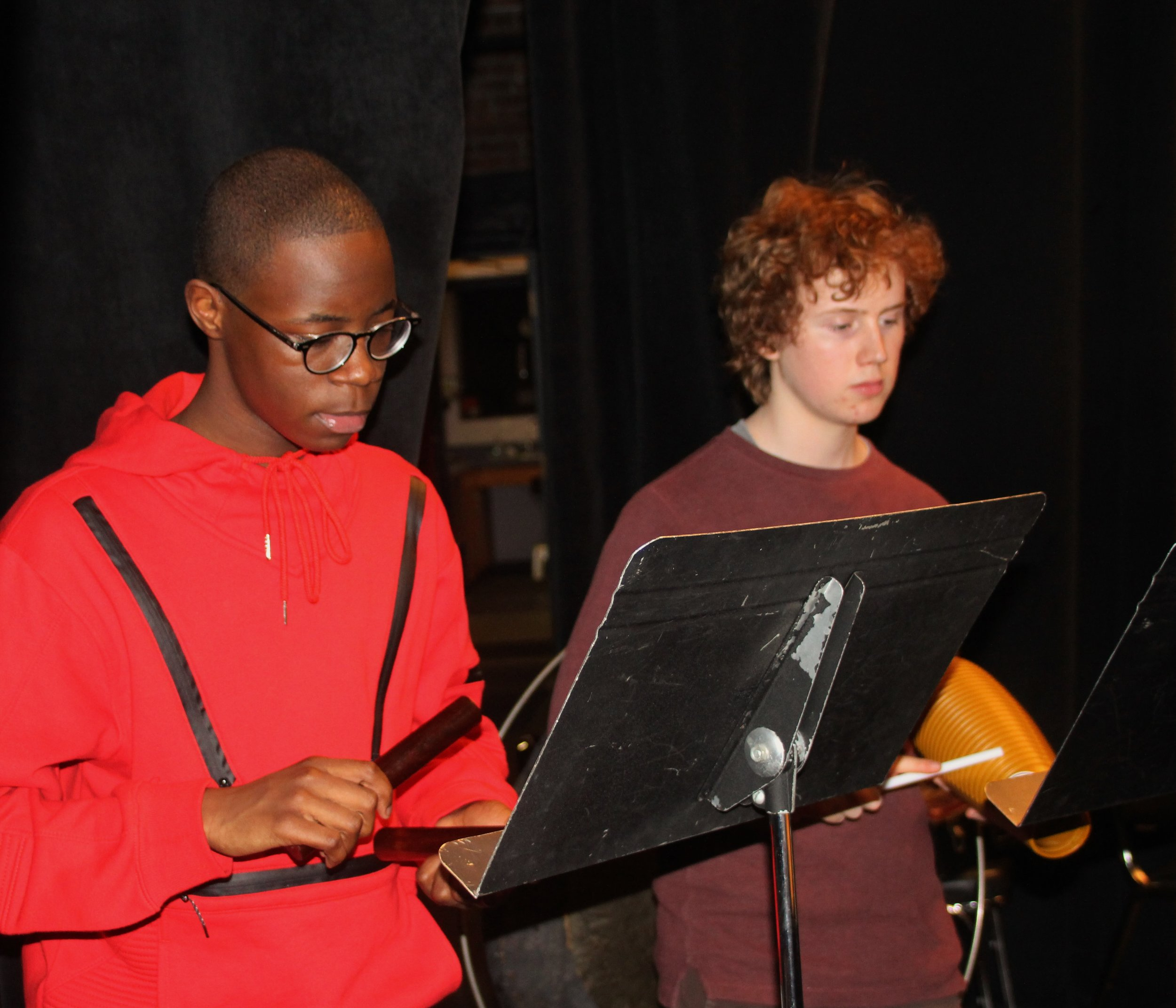 Student percussionists Ty Hargrove and Thomas Roberts practice for Cuban Overture