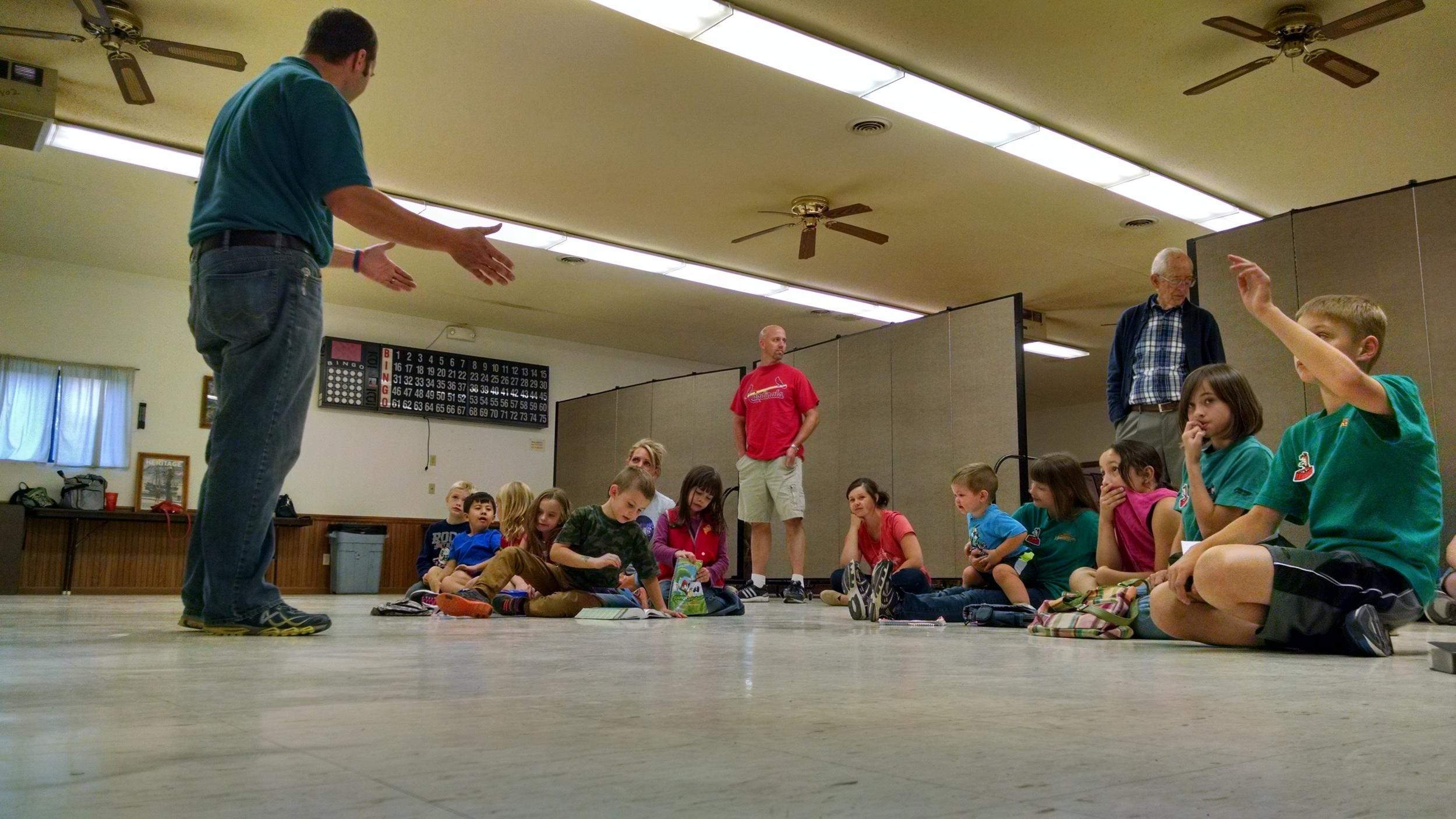 Pastor Jason teaching during Big Group Time.