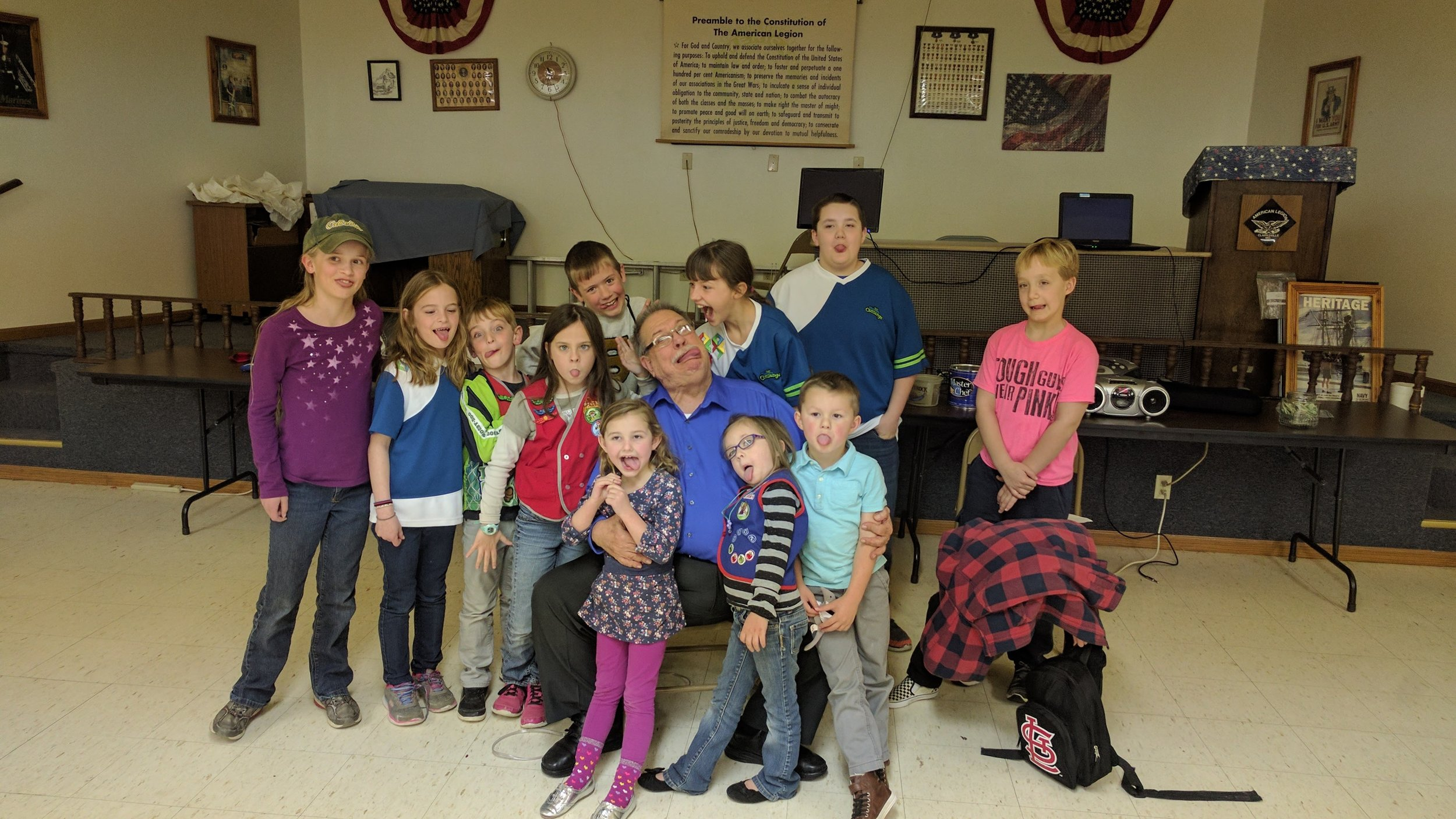 Dean Wallace with our AWANA kids (silly face!)
