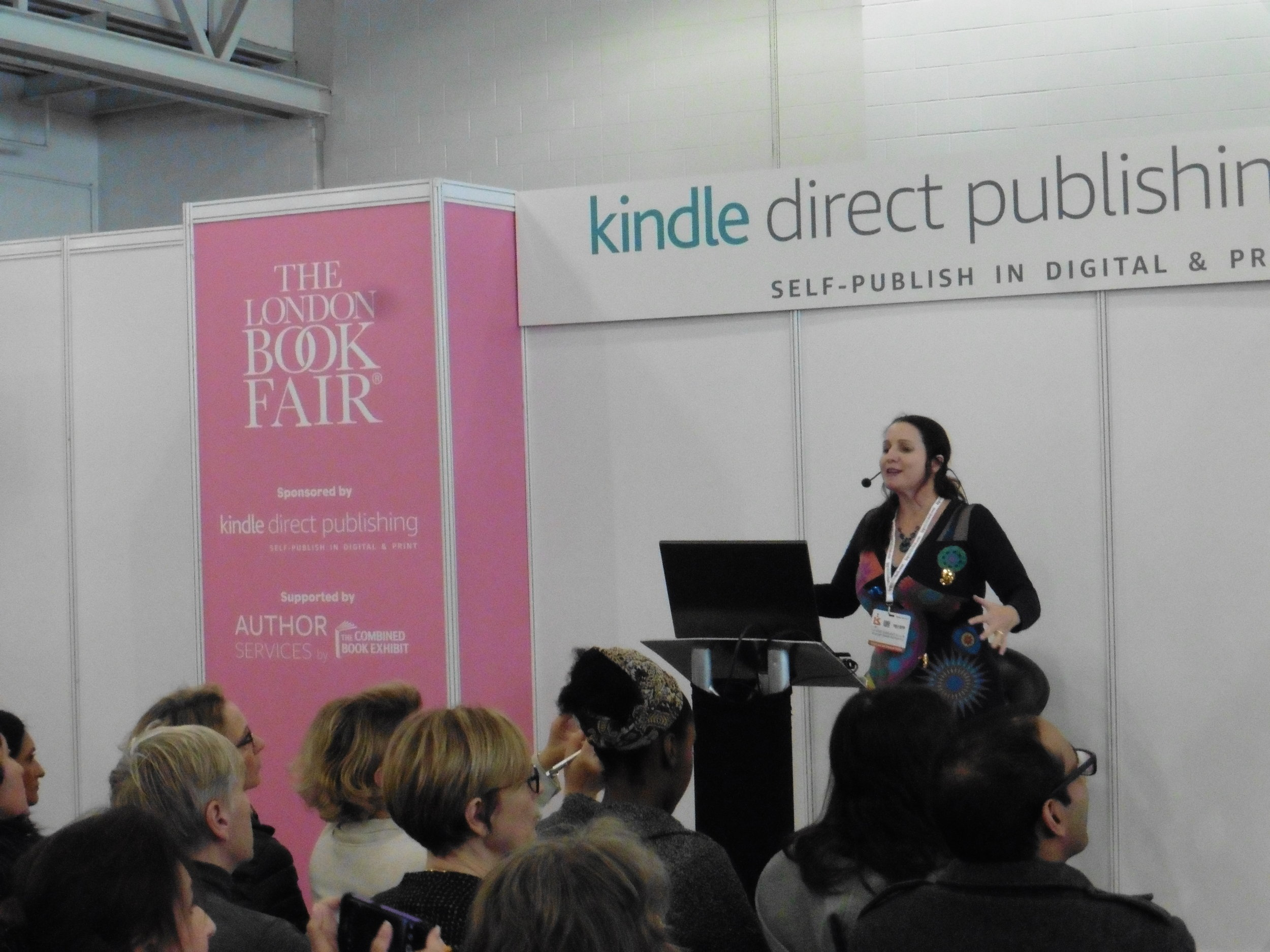 Joanna Penn speaking at the London Book Fair. Photo by Terry Freedman