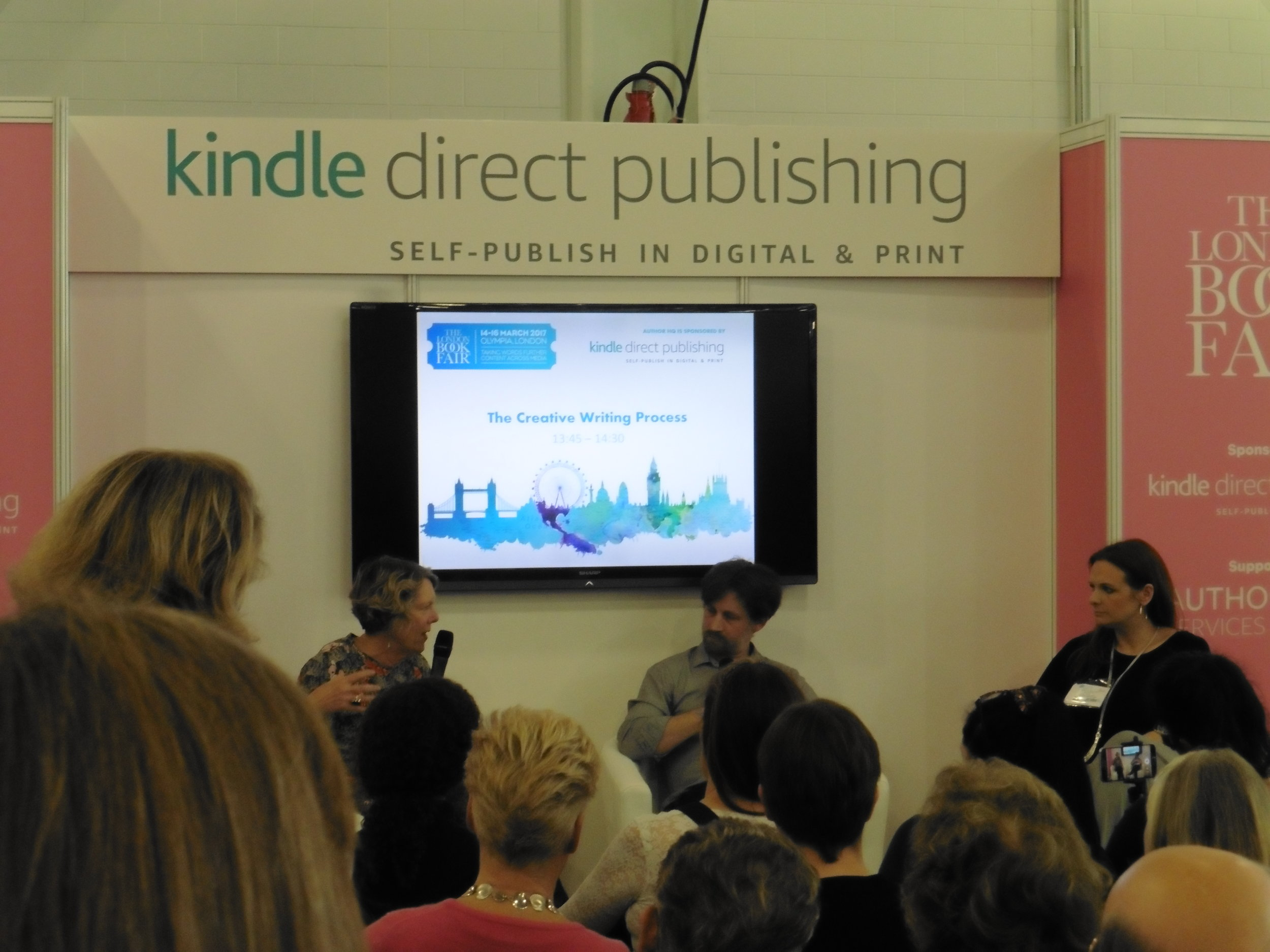 Rosanna Ley, Jonathan Telfer and Cally Taylor in conversation at the London Book Fair 2017. Photo by Terry Freedman