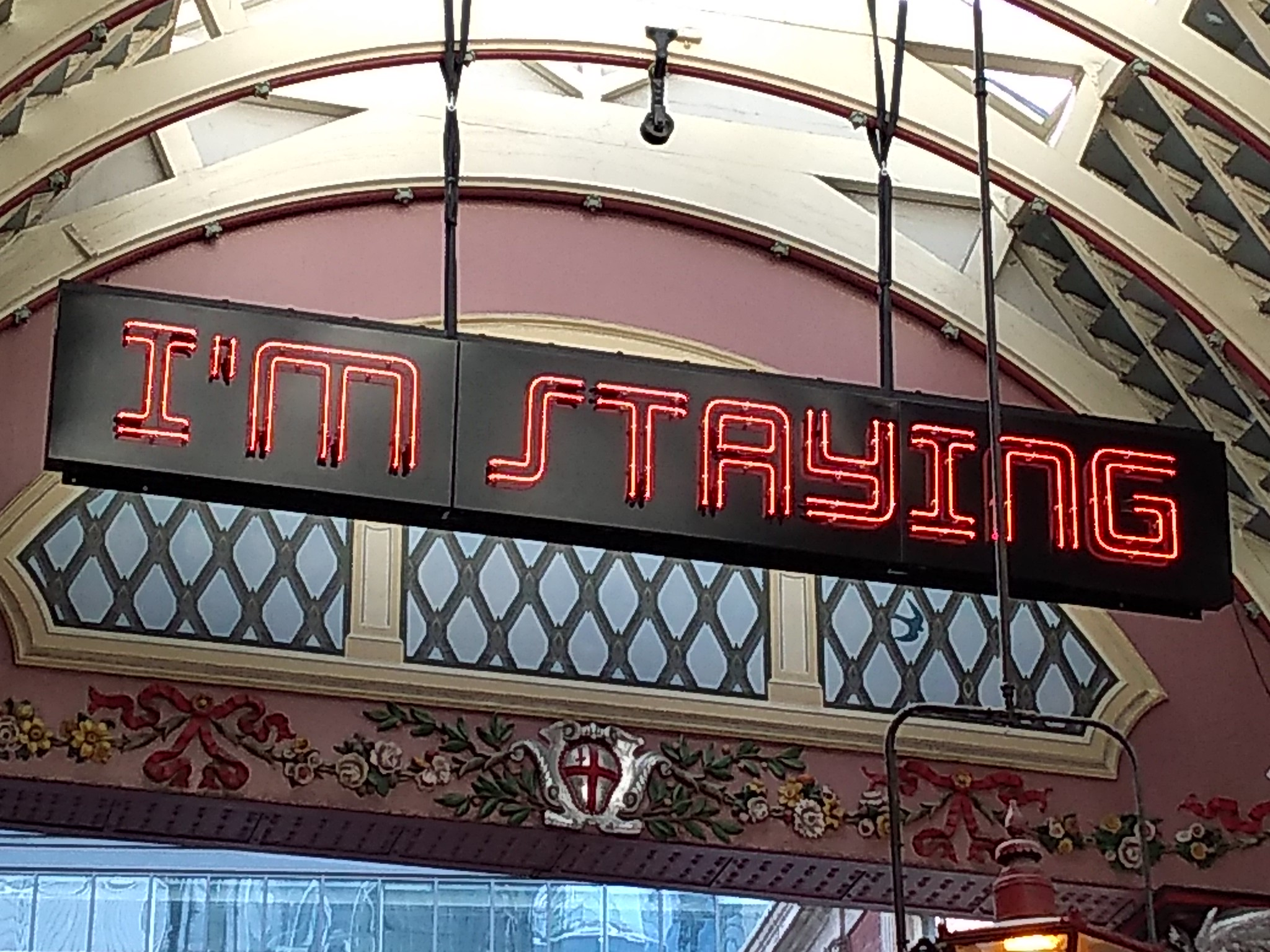 I'm Staying, by Shaun C Badham, Leadenhall Market. Photo by Terry Freedman