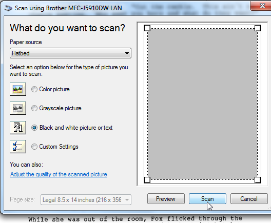 Selecting the scanner setting, by Terry Freedman