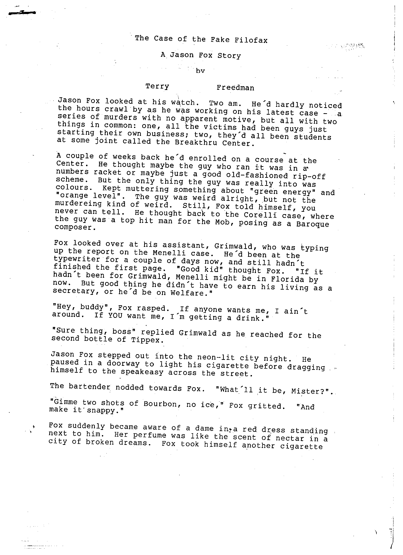 The first page of the original typewritten story, by Terry Freedman