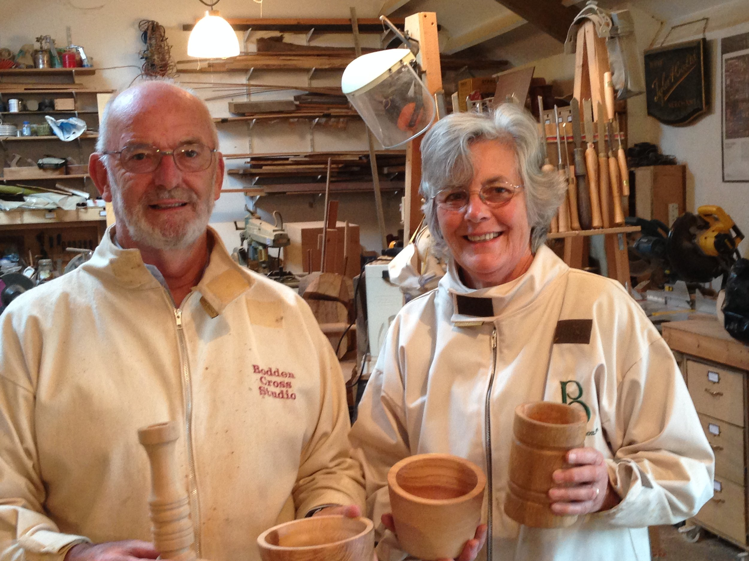 Husband & wife creating bowls and learning spindle work.