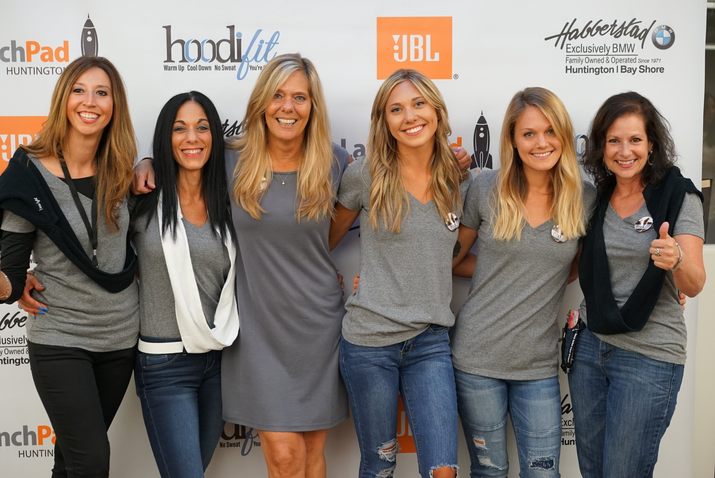 Team HoodiFit - Much love to our amazing team, a great big cyber 'shout out' and much love! We couldn't do this without every one of you <3From left to right: Veronica and Maria - Sales and promotions, Laurie, Sarah, Melissa and Hope - our fabulous graphic and web designer.