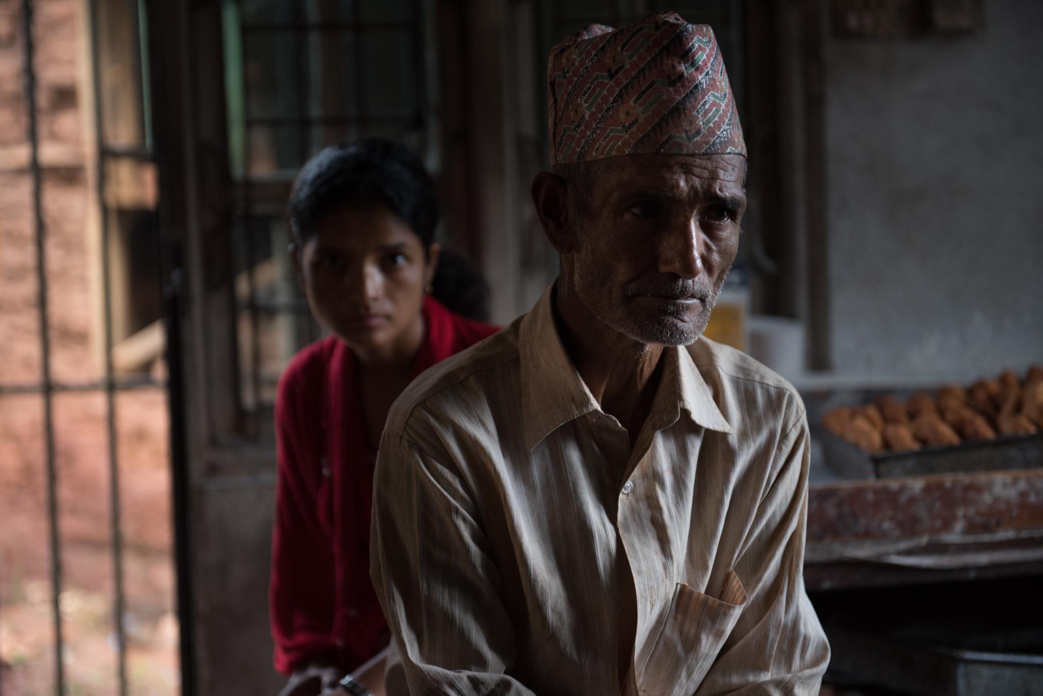 Ram Kumar Kandel and his daughter Devi.