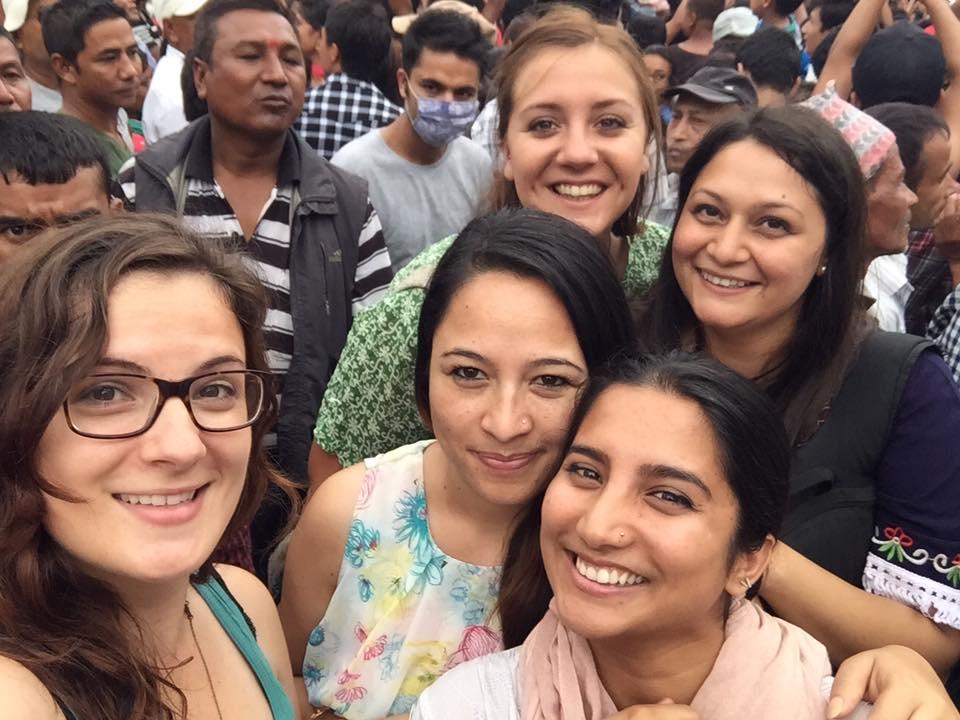 Festival selfie: From left, me, Kalpana, Sara (back), Samita (front), Ashmita.