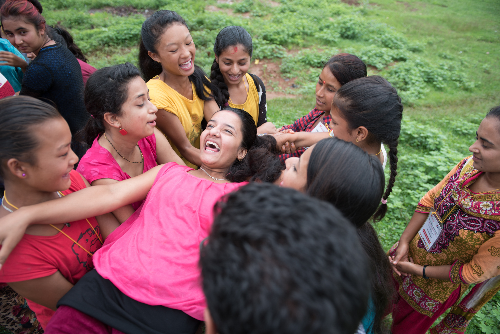 The Accountability Lab spent two days working alongside Nepali nonprofit, Visible Impact, educating 15 local girls in the rural village of Nuwakot in Nepal on accountability and activism in August 2016. This was a team building exercise in trust. (Photo taken by Brittany Wait)