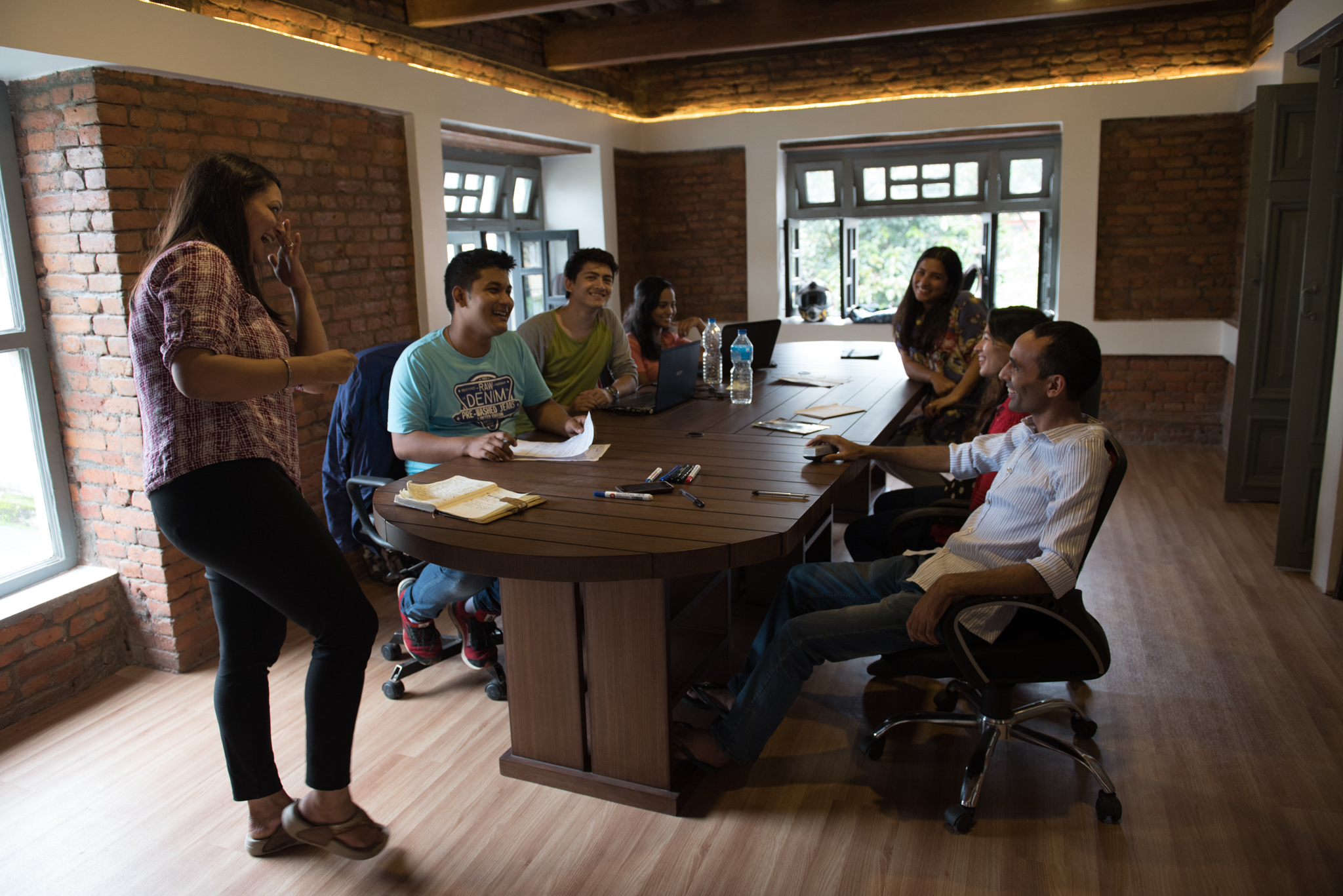 The Accountability Lab holds an informal meeting in their new home at the Open GovHub in Kathmandu, Nepal. (Photo by Brittany Wait)