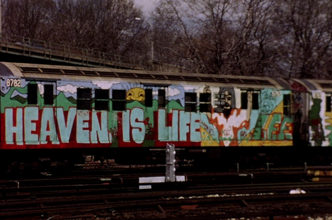 """A magnificent lyrical study of the graffiti-covered subway trains of New York.""  —The Independent"