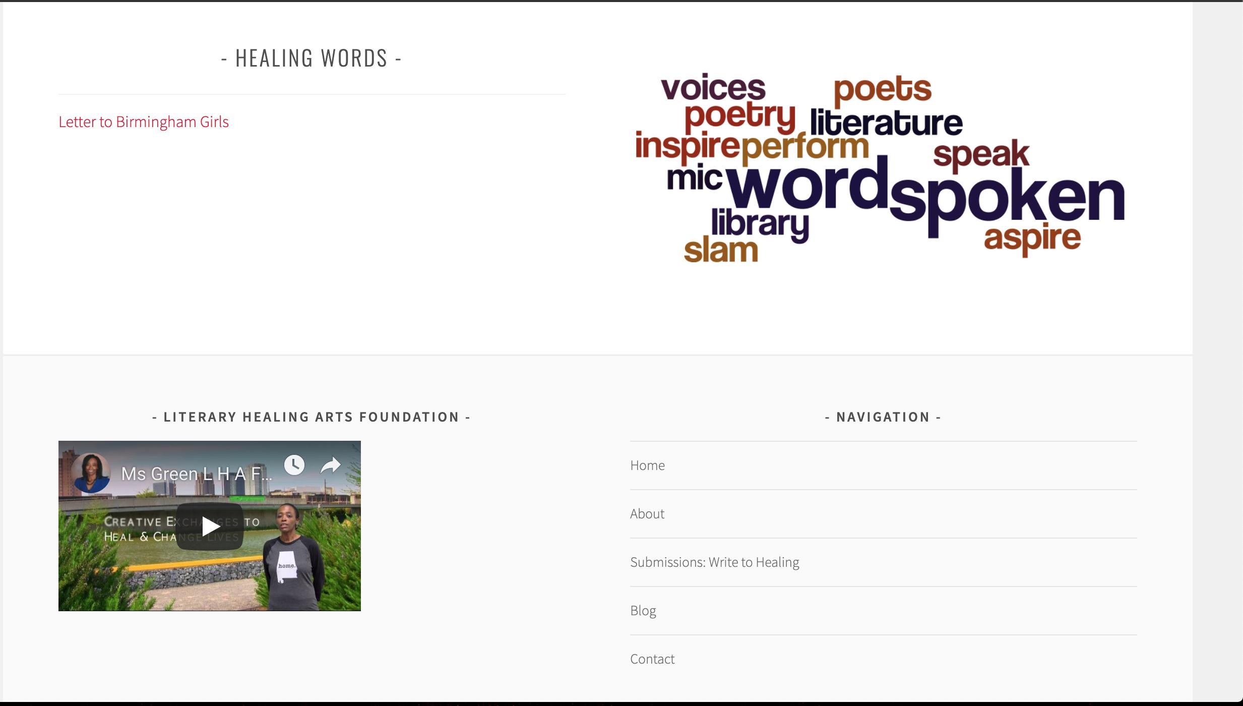 Old Literary Healing Arts Homepage Bottom