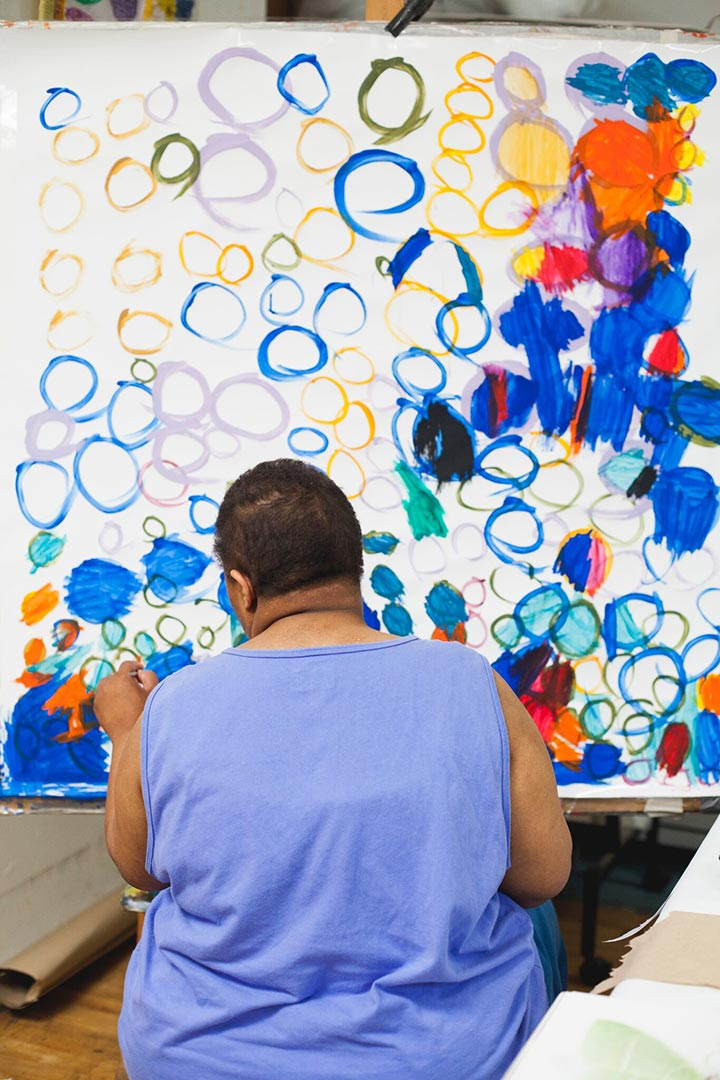 Taneya Lovelace working in the Creativity Explored studio.Photograph by Nina Menconi.