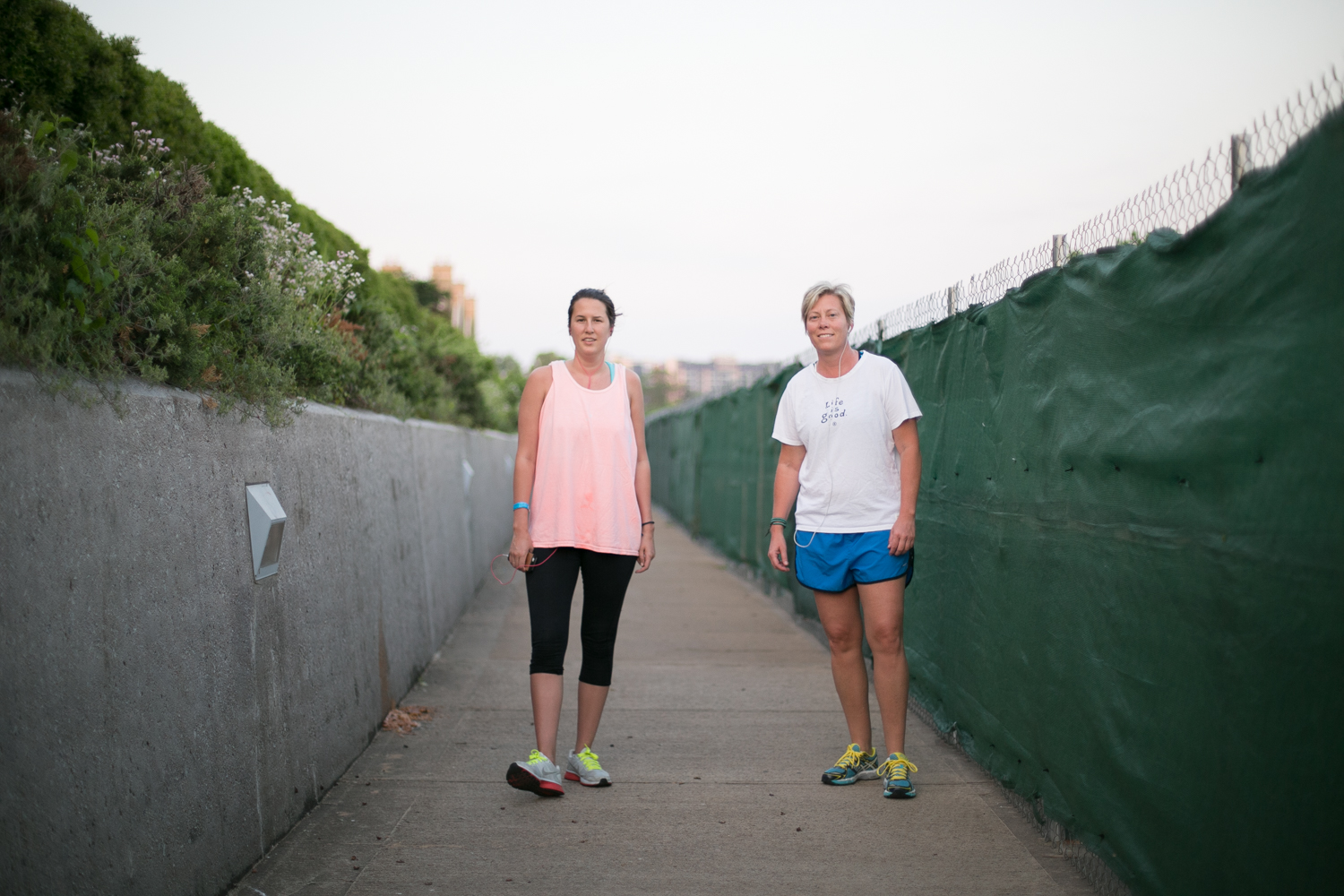 Heather and Julia usually run in the afternoons. But with the weather so nice, they've decided to switch it up. This morning, they're shooting for two miles.