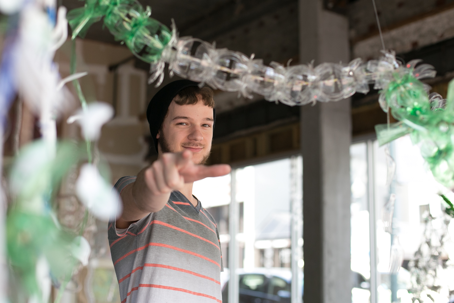 Tyler is an architecture student at the University of Memphis. He built a giant sculpture with his classmates out of recycled bottles and plastic forks.