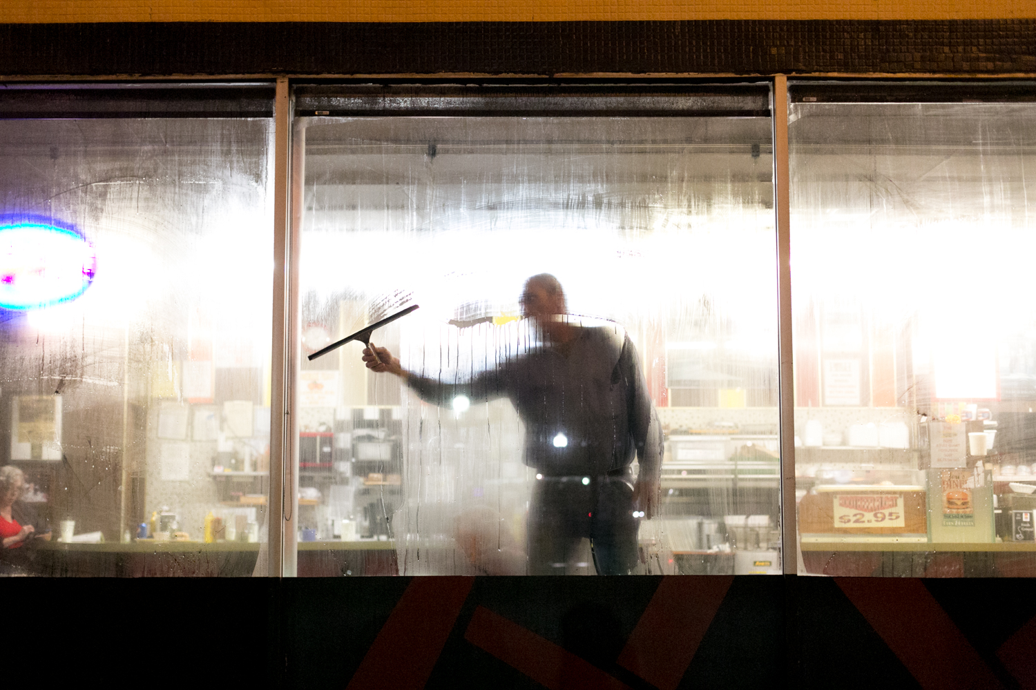 When the windows fog up at Jeri's grill, Al squeegees them right up. He dates the cook at the 24 hour diner and helps out where he can. 17/24