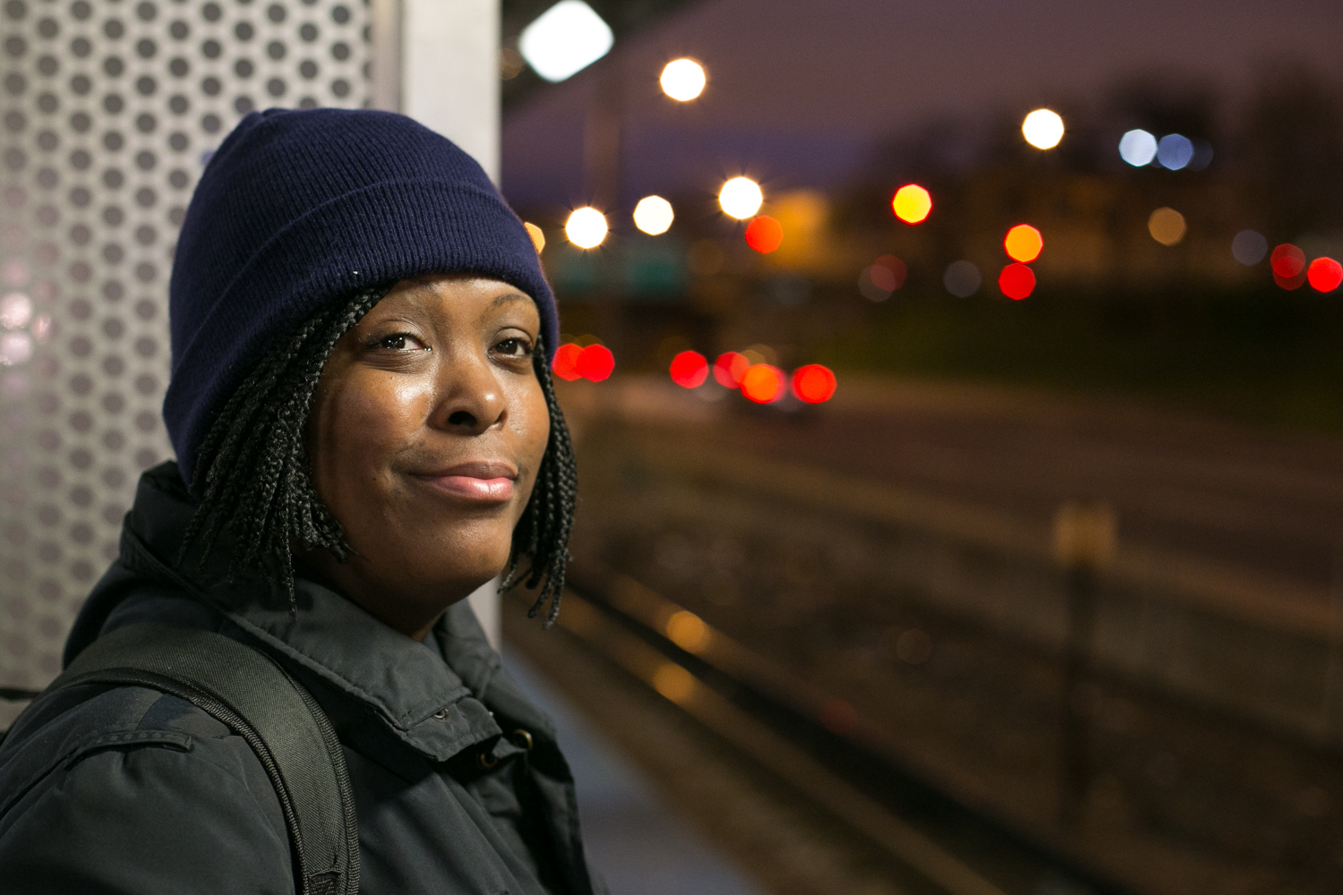 Shantae waits for the blue line train to take her out to Chicago O'Hare Airport where she has been a screener for the past 10 years with TSA. 20/24