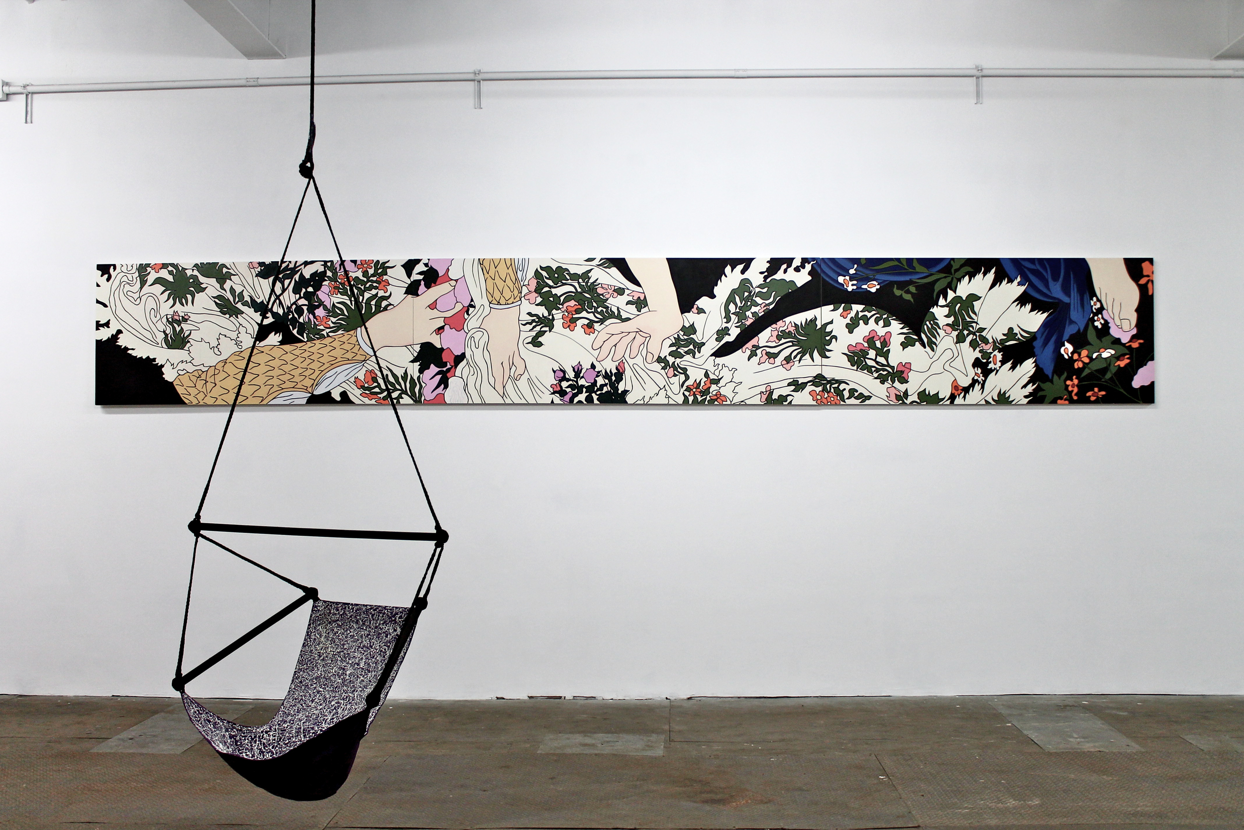 Installed as a decorative frieze is Caitlin Keogh's painting , Fragment From Botticelli's Primavera Allegory: Chloris, a Nymph, is Pursued and Raped by the Wind God Zephyrus. After the Rape, Chloris Becomes the Goddess Flora, the Source of All Flowers,  2015 .  Acrylic on canvas .