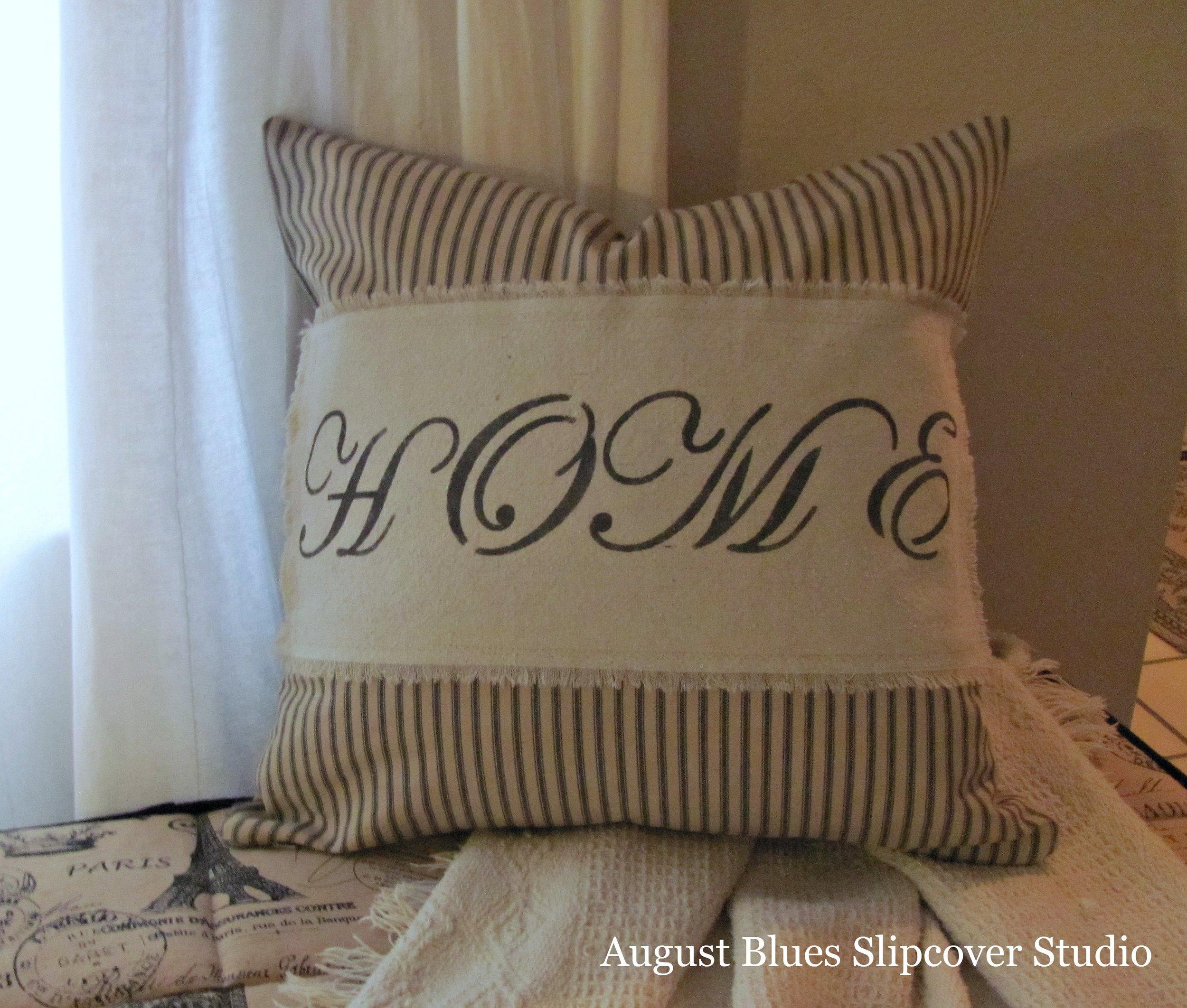 "August Blues Slipcover Studio - ""Home"" pillow"