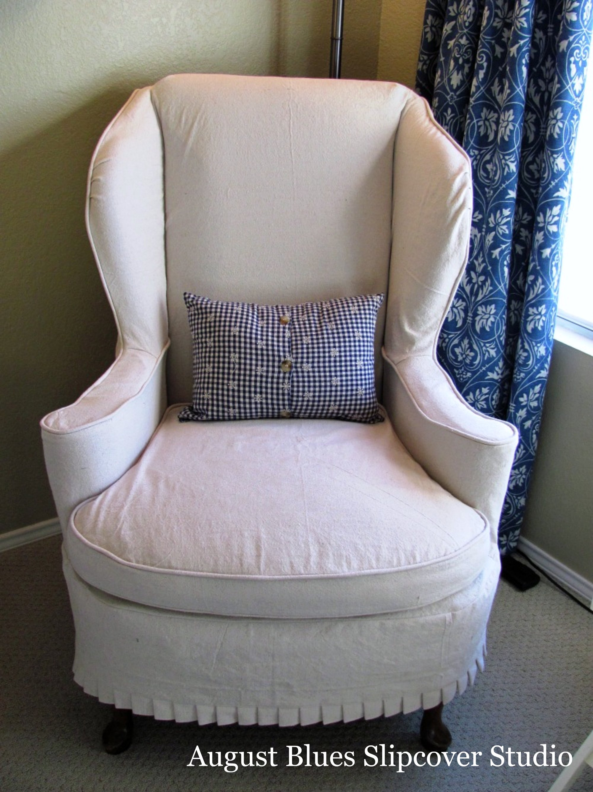 August Blues - Wing Chair dropcloth slipcover