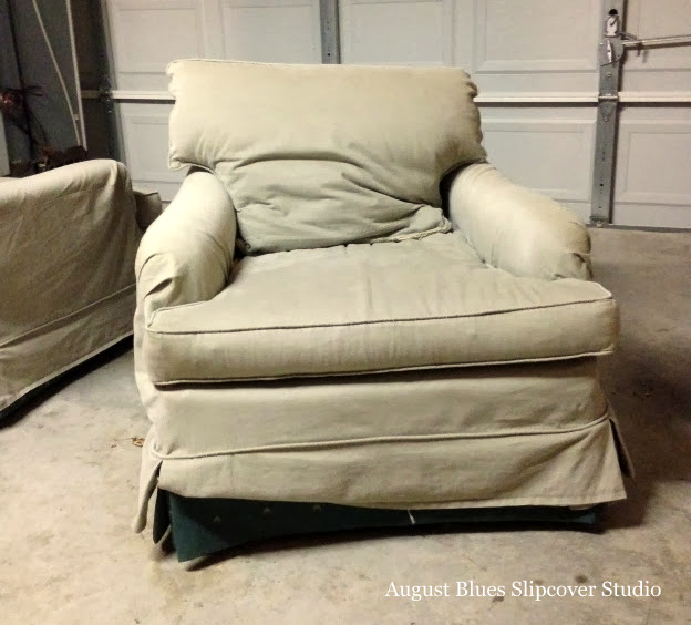 August Blues - Craigslist chair with old slipcover