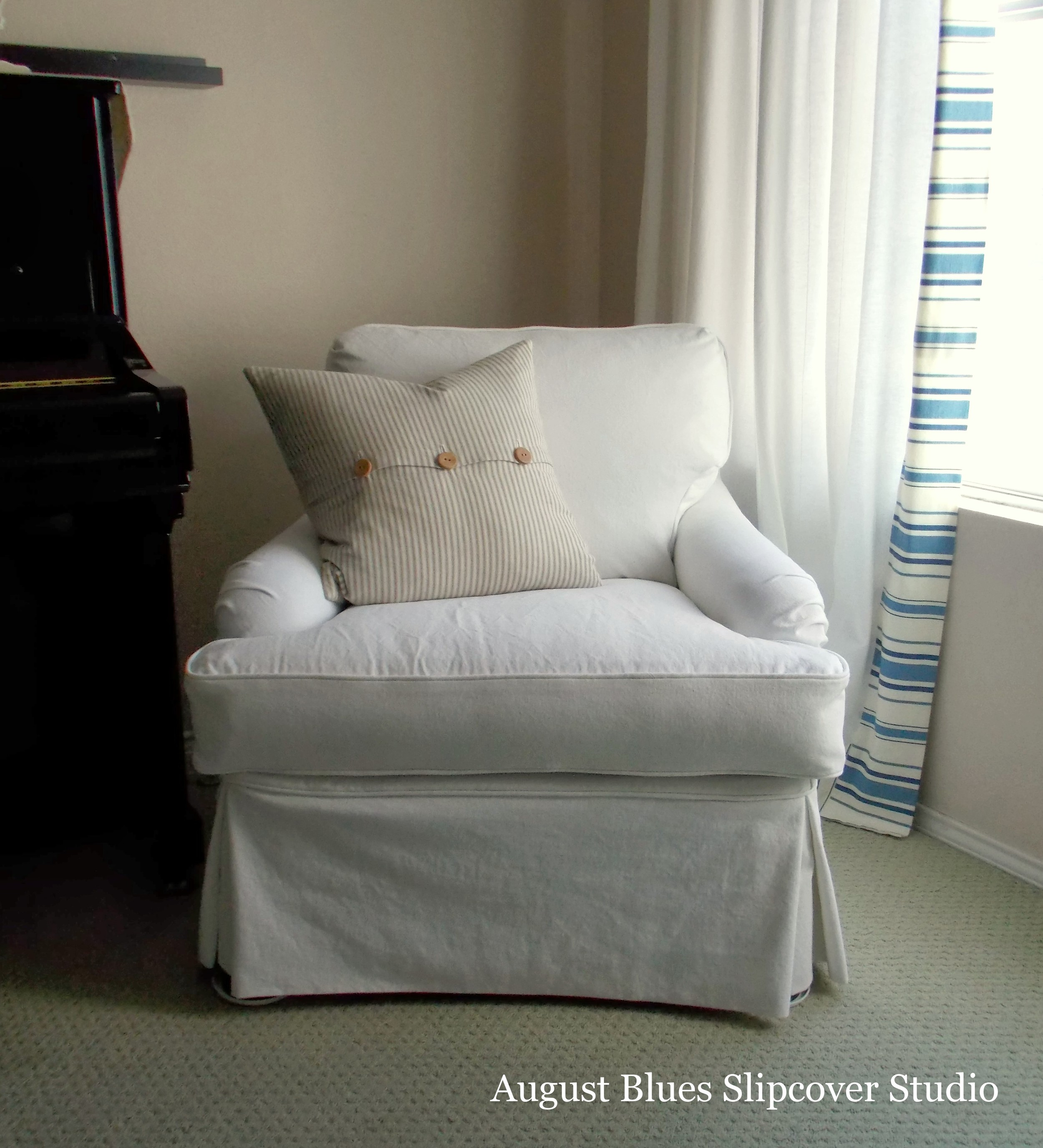 August Blues - White Club Chair After Front View