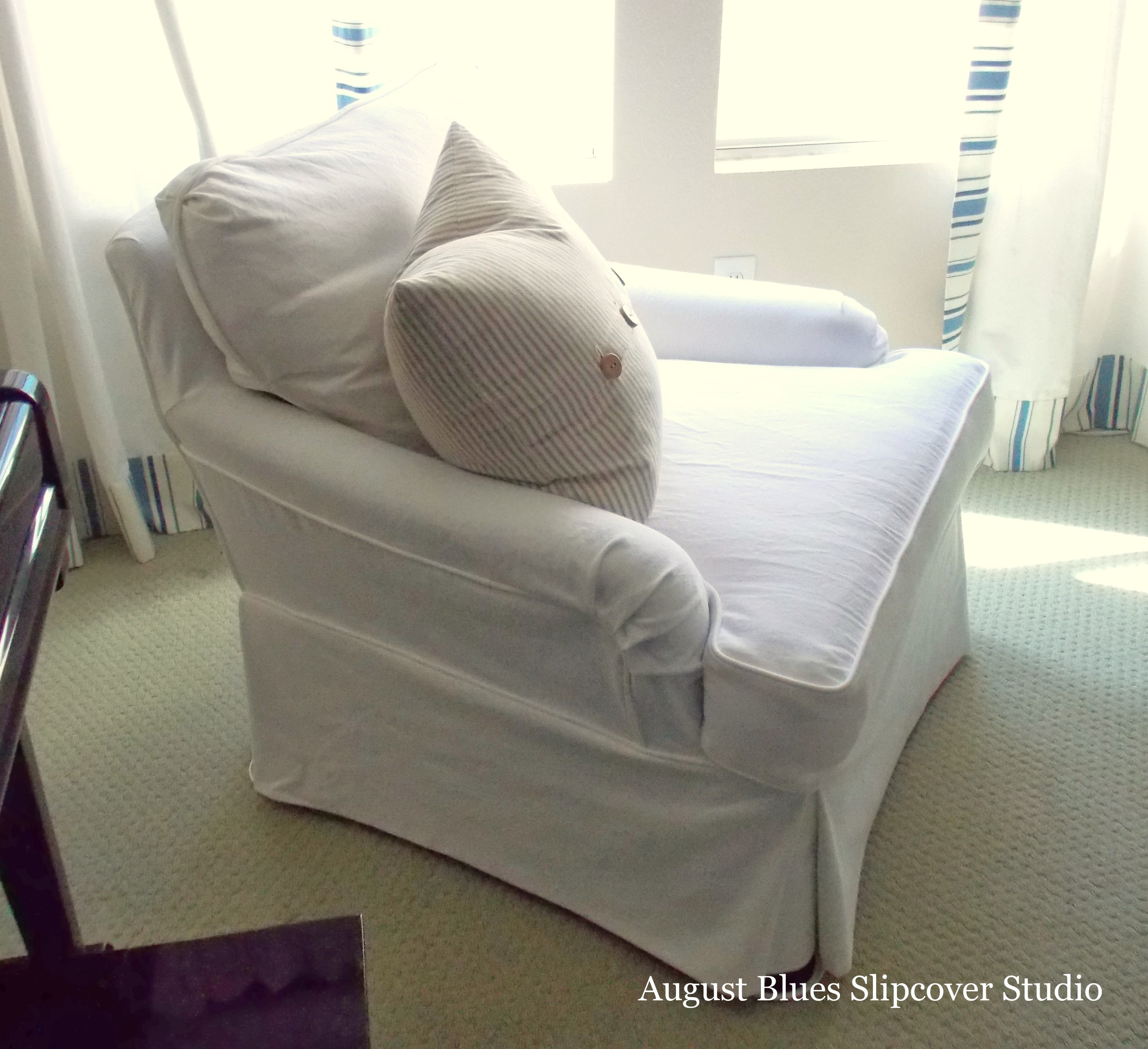 August Blues - White Club Chair After Side View