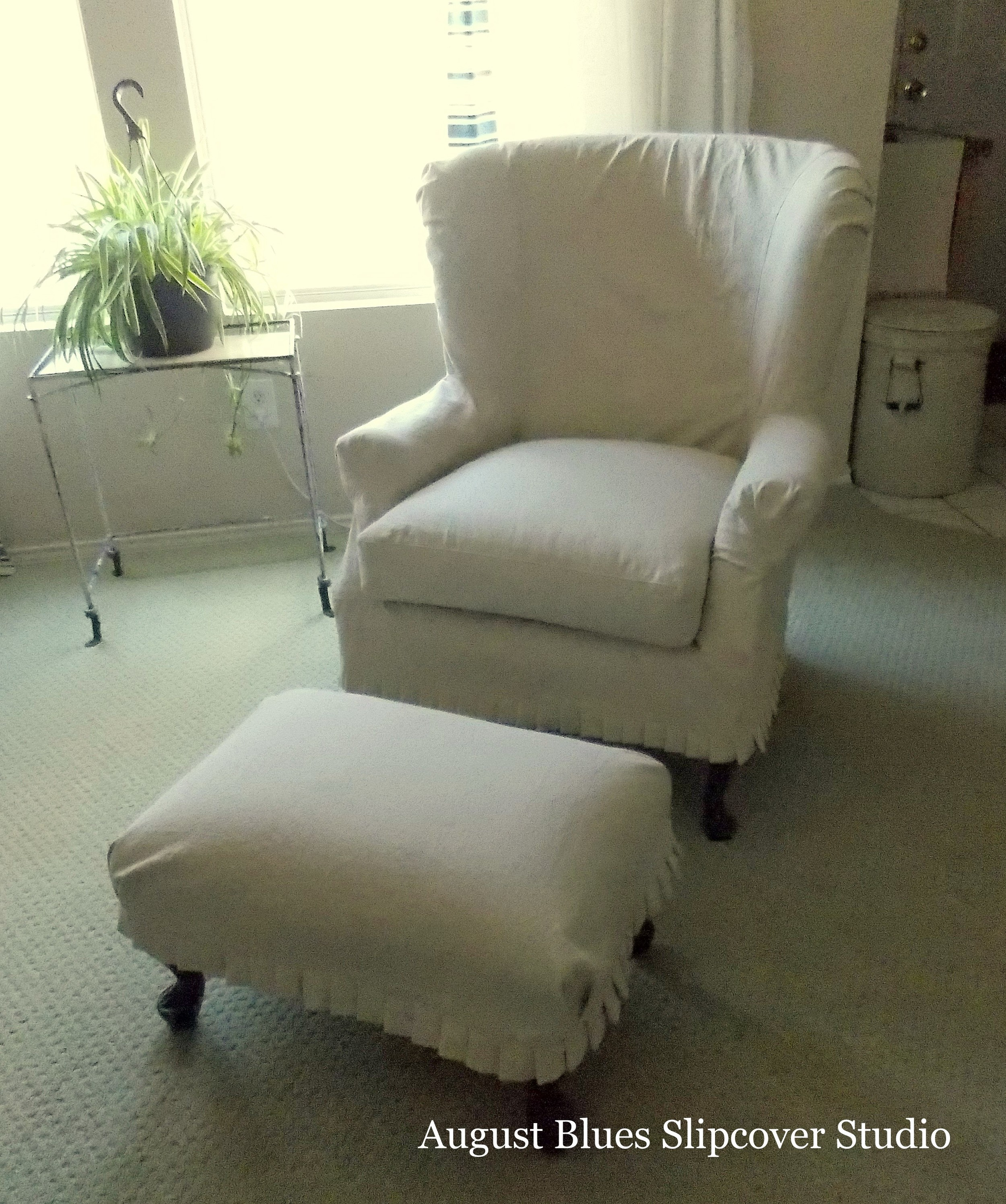 August Blues - Dropcloth Wing Chair Front View