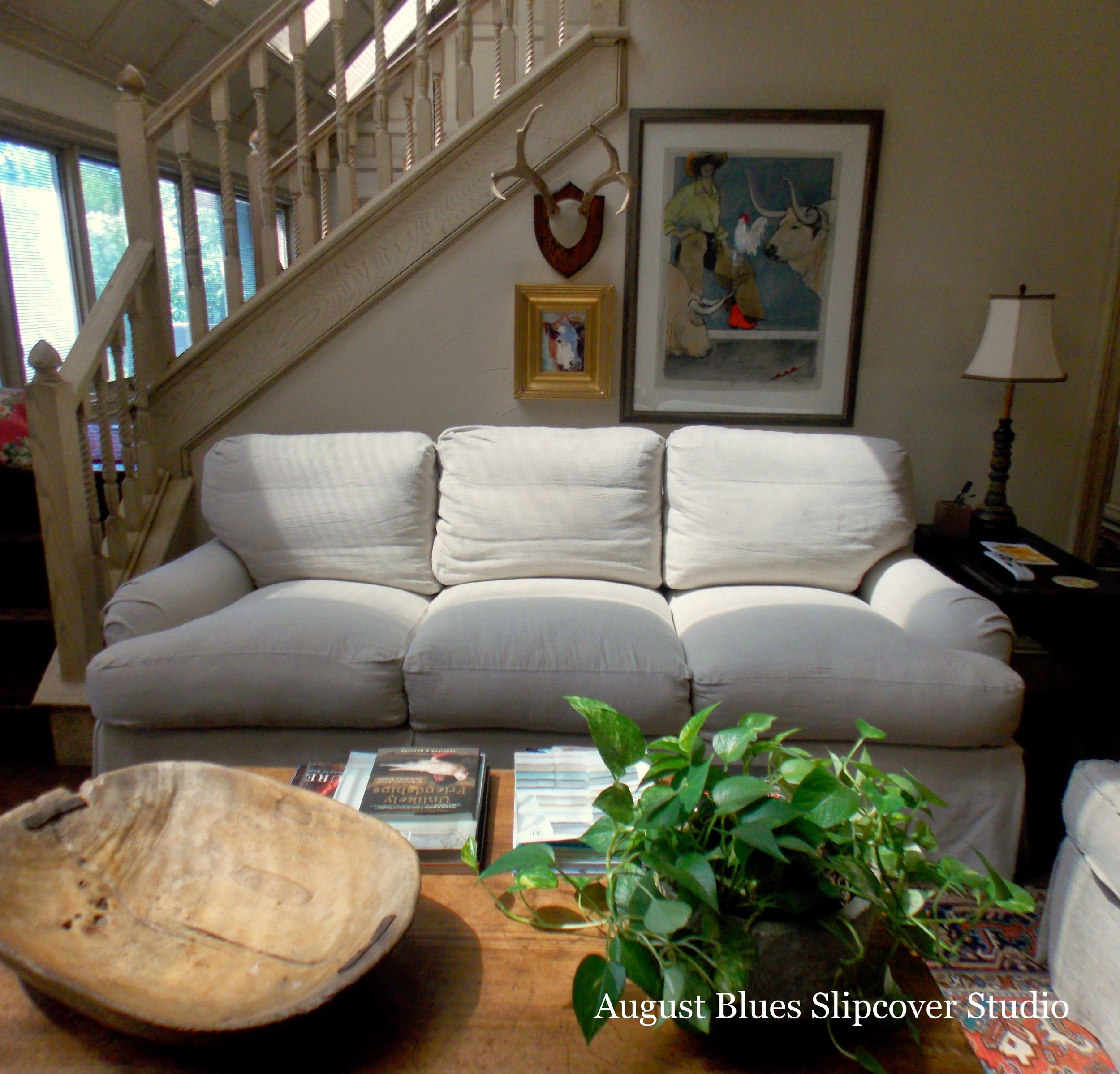 August Blues - Dropcloth Slipcover Front