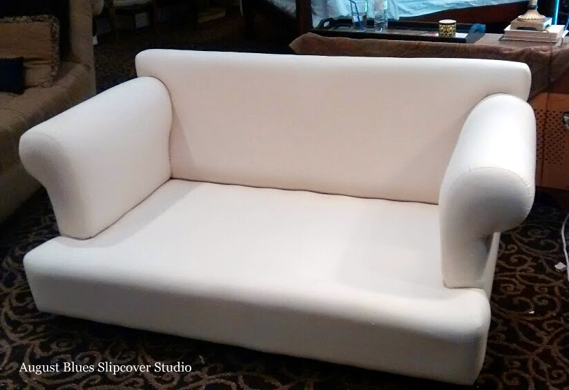 August Blues - Loveseat Before - without cushions