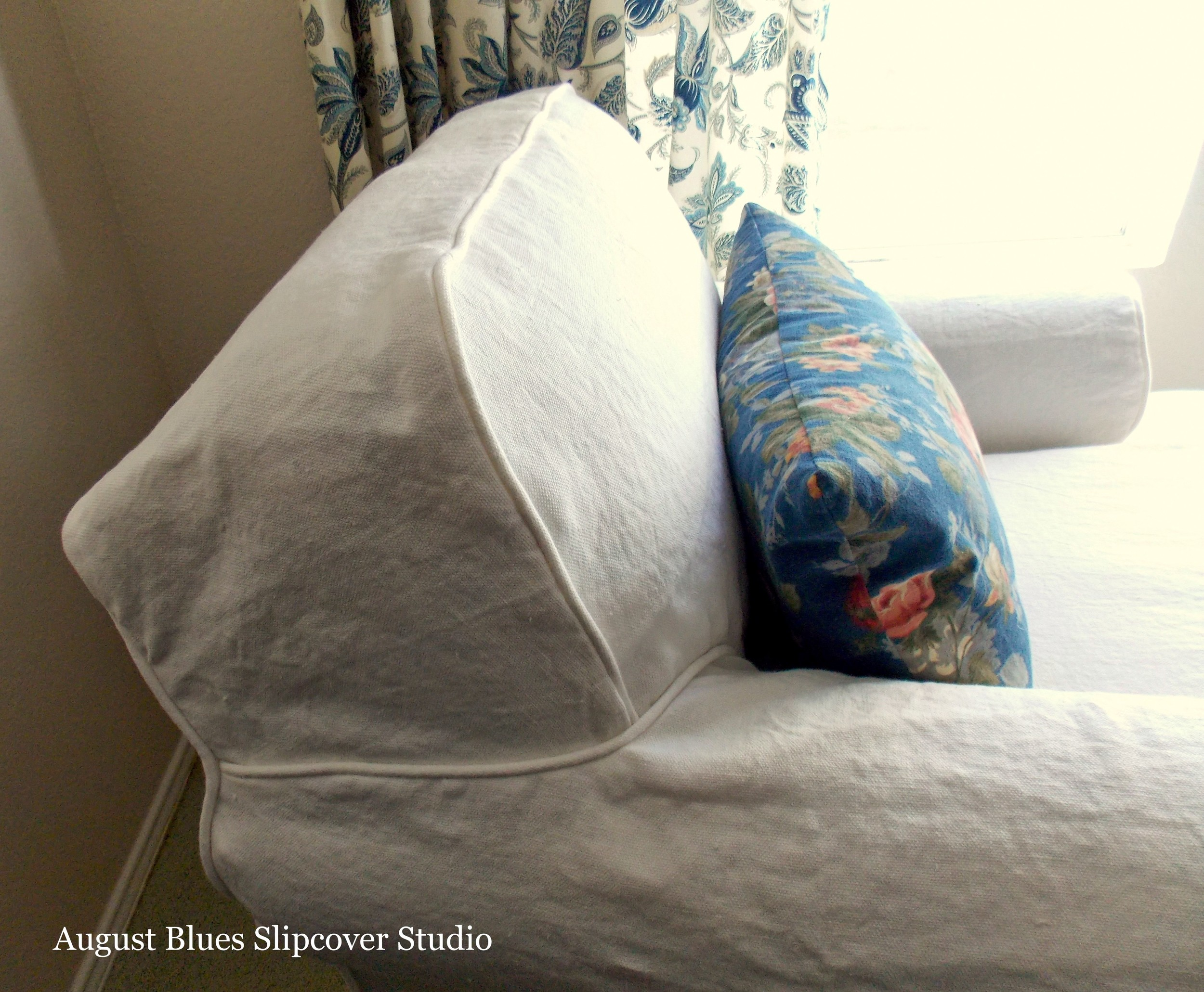 August Blues - Attached Back Cushion