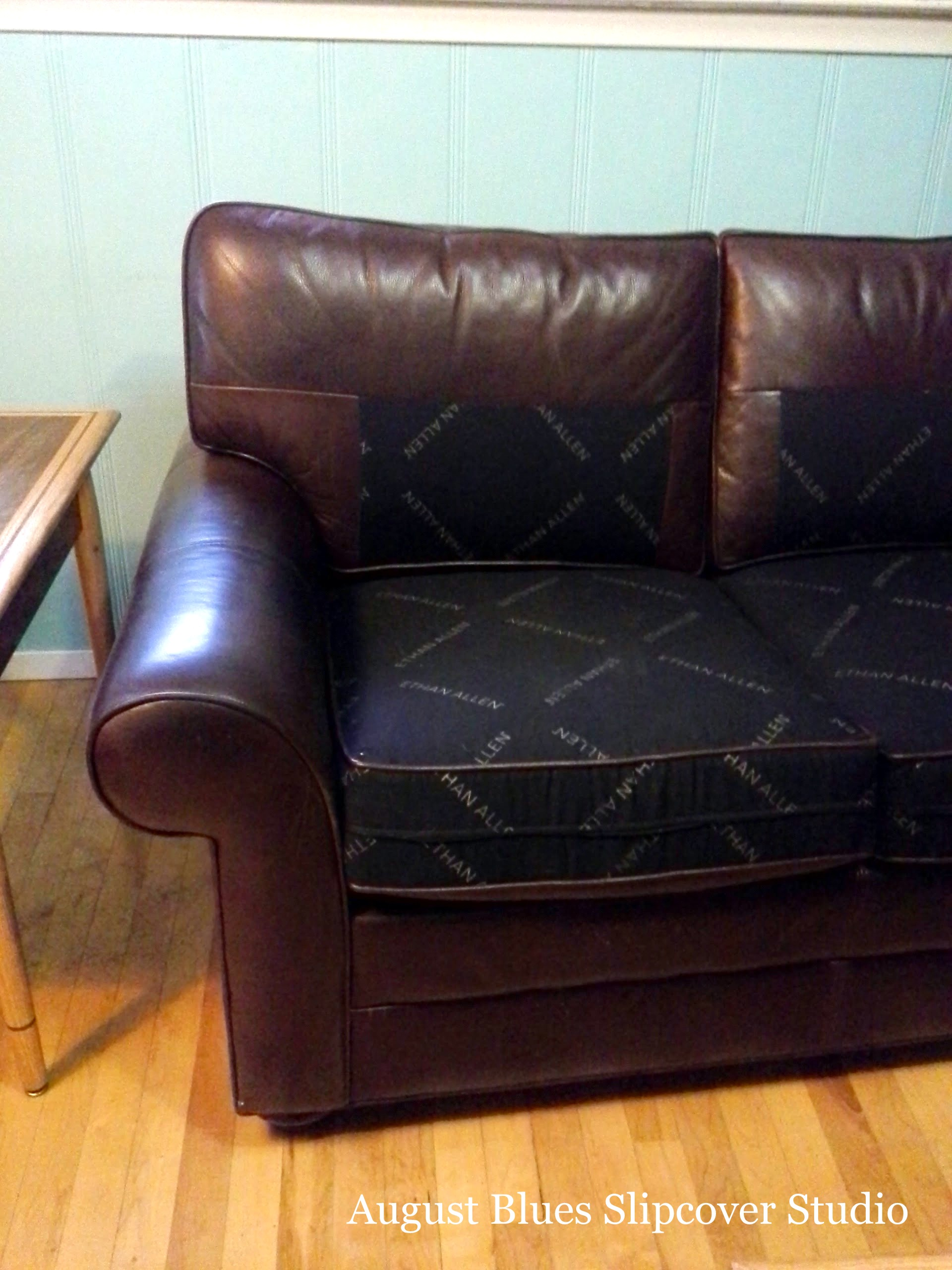 August Blues - Leather Couch Before