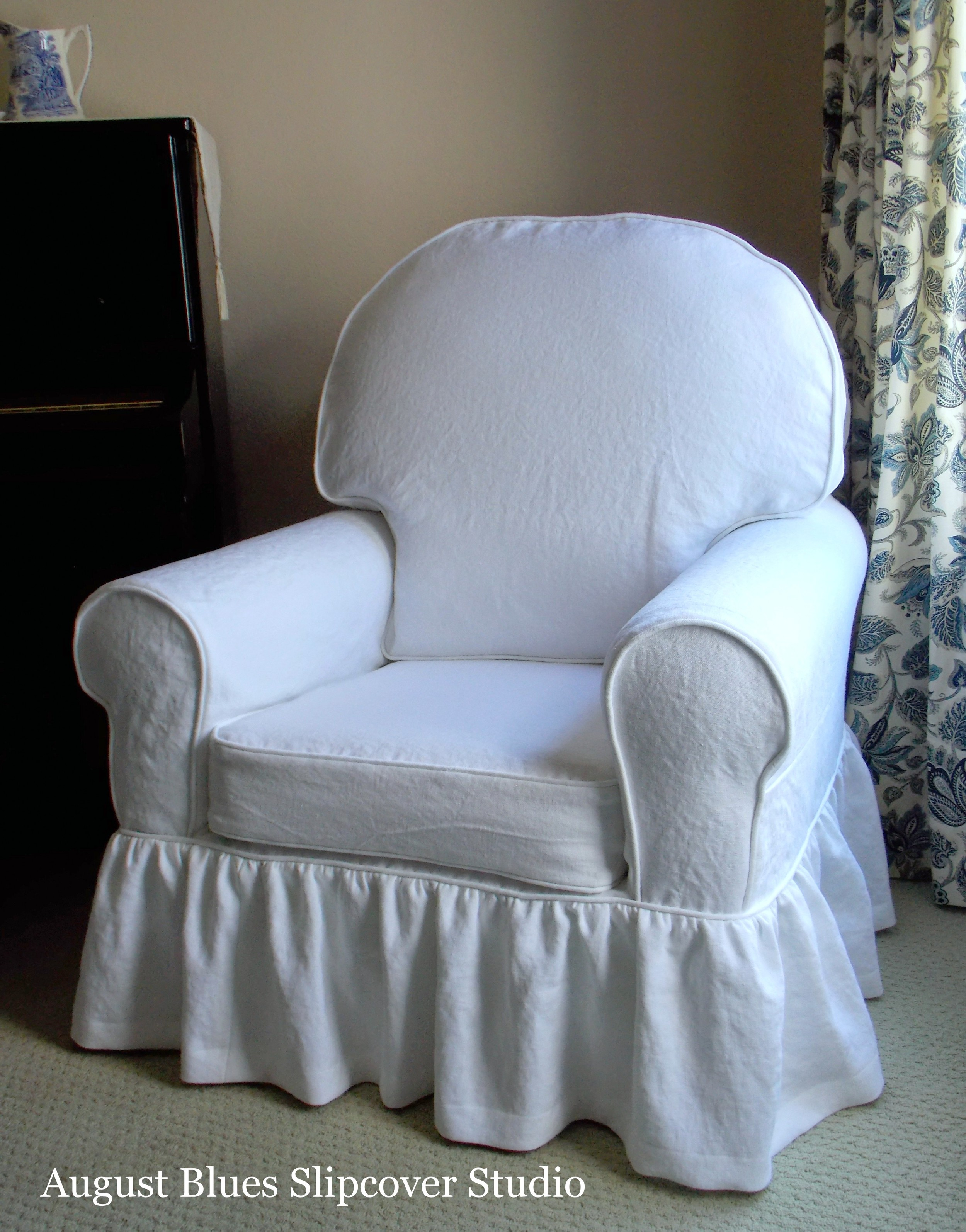 August Blues - linen slipcover after
