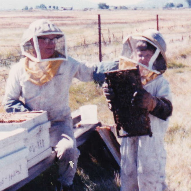 Literally, workers with bees. Grandad and I, c. 1989.