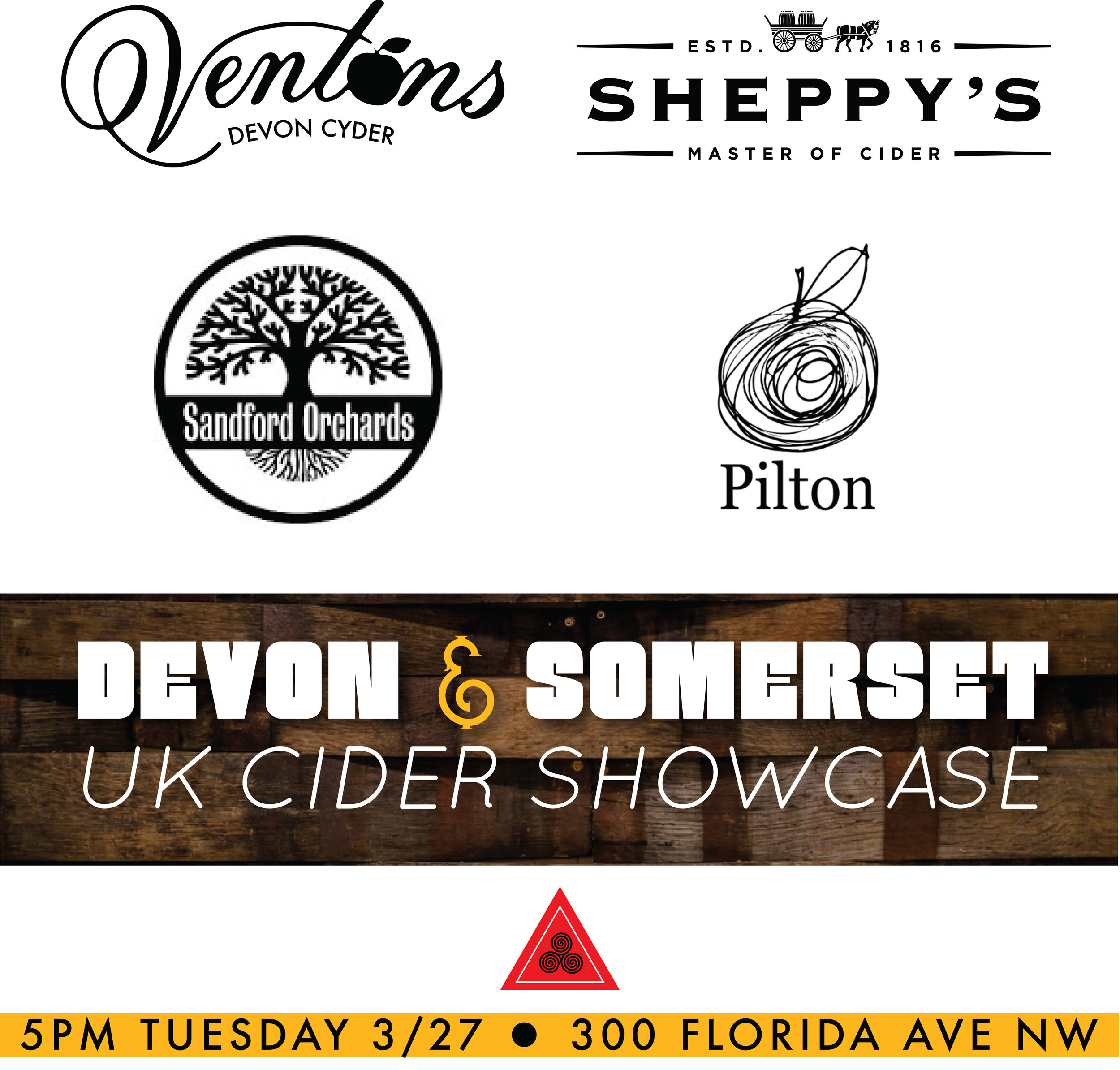 7 awesome ciders including 5 on draught and 2 in Bag-in-box, featuring 4 of the best producers from England's West Country.  Also featuring 1 collaborative offering from Dan Kopman(Heavy Seas) and Barney Butterfield of Sandford Orchard's new brand, E.Krisper's Hard Cider.  Come out and hang!