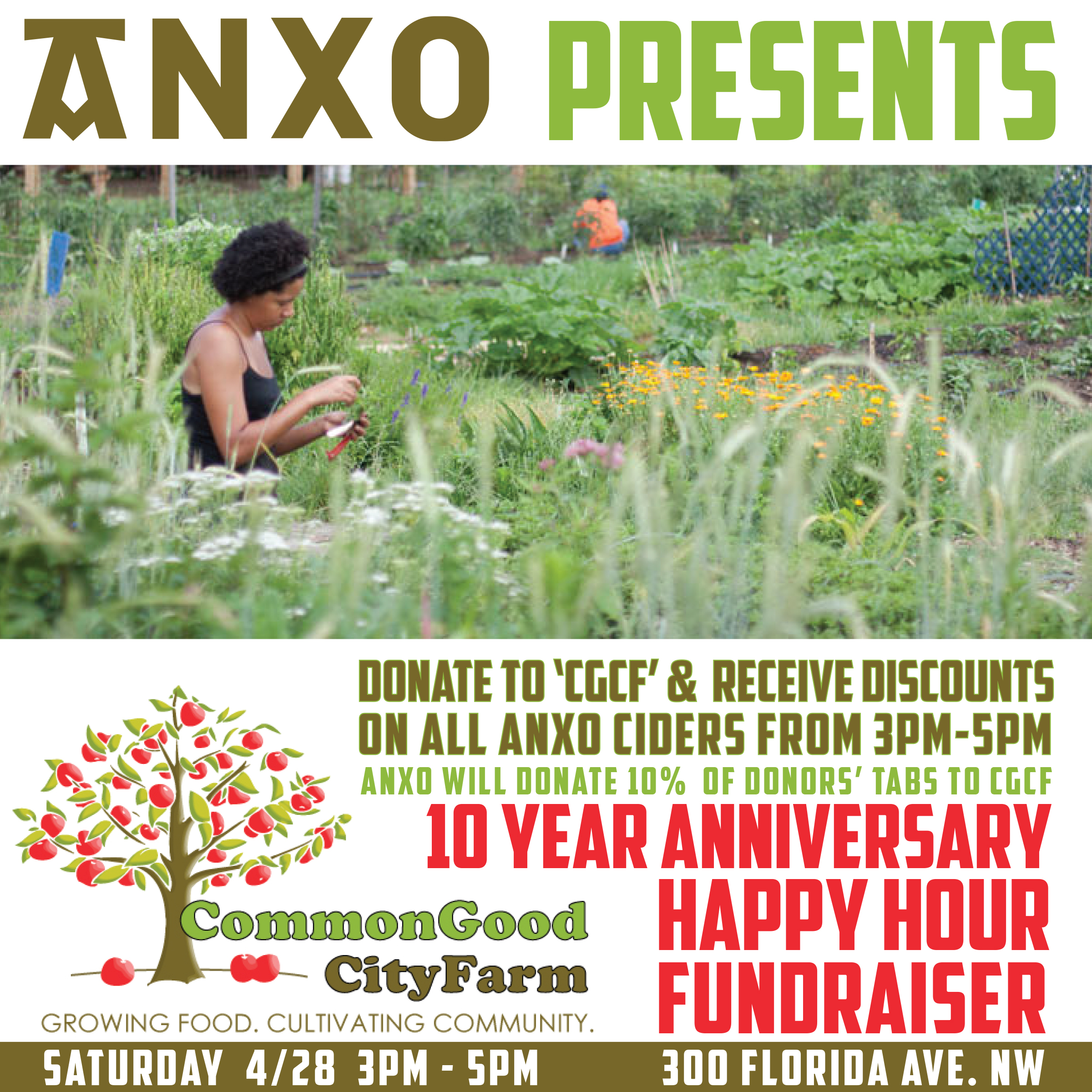 From 3-5 this Saturday all ANXO ciders are 10% off with a donation to Common Good City Farm. We will also donate 10% of the sales of donors' tabs to CGCF.
