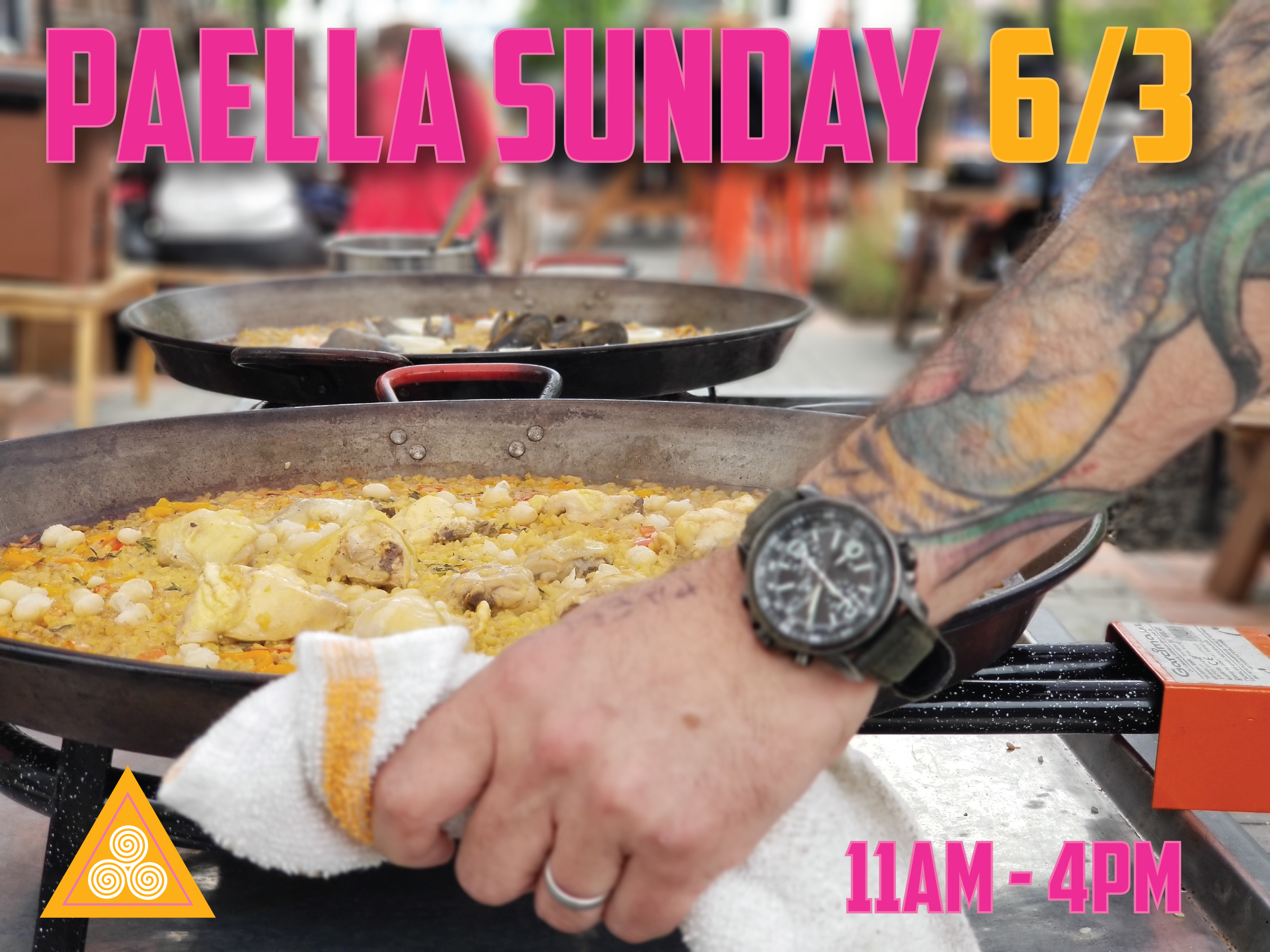 Chef Alex is at it again on Sunday June 3rd making his famous Paella de Mariscos on the patio from 11am-4pm.